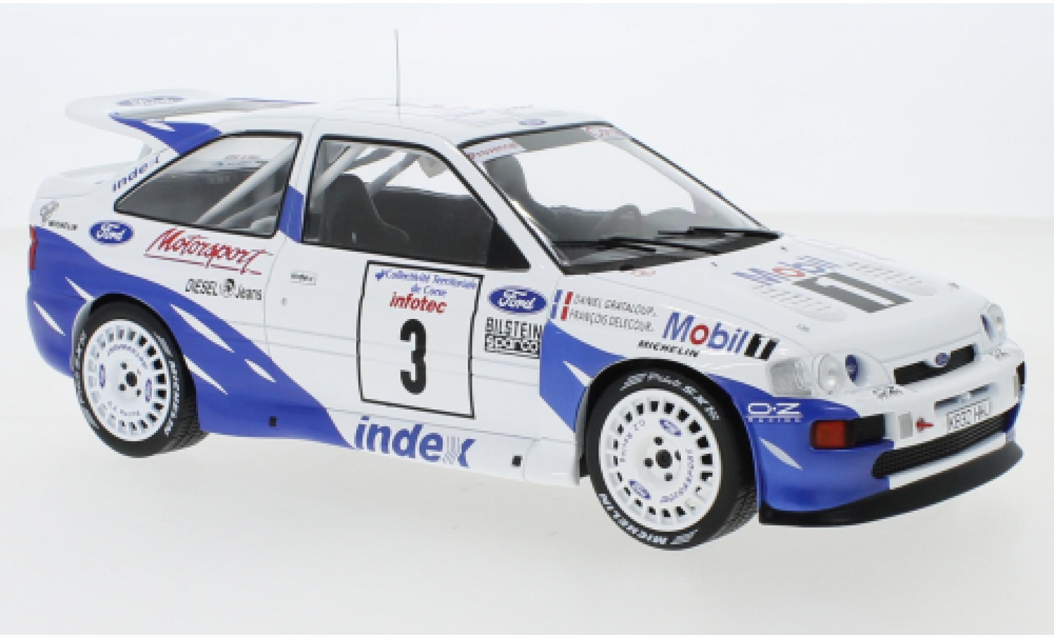 Ford Escort 1/18 IXO RS Cosworth No.3 Rallye WM Tour de Corse 1993 F.Delecour/D.Grataloup
