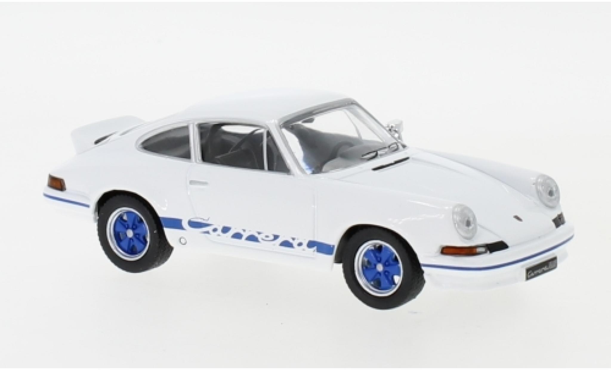 Porsche 911 RS 1/43 IXO Carrera 2.7 blanche/bleue 1973