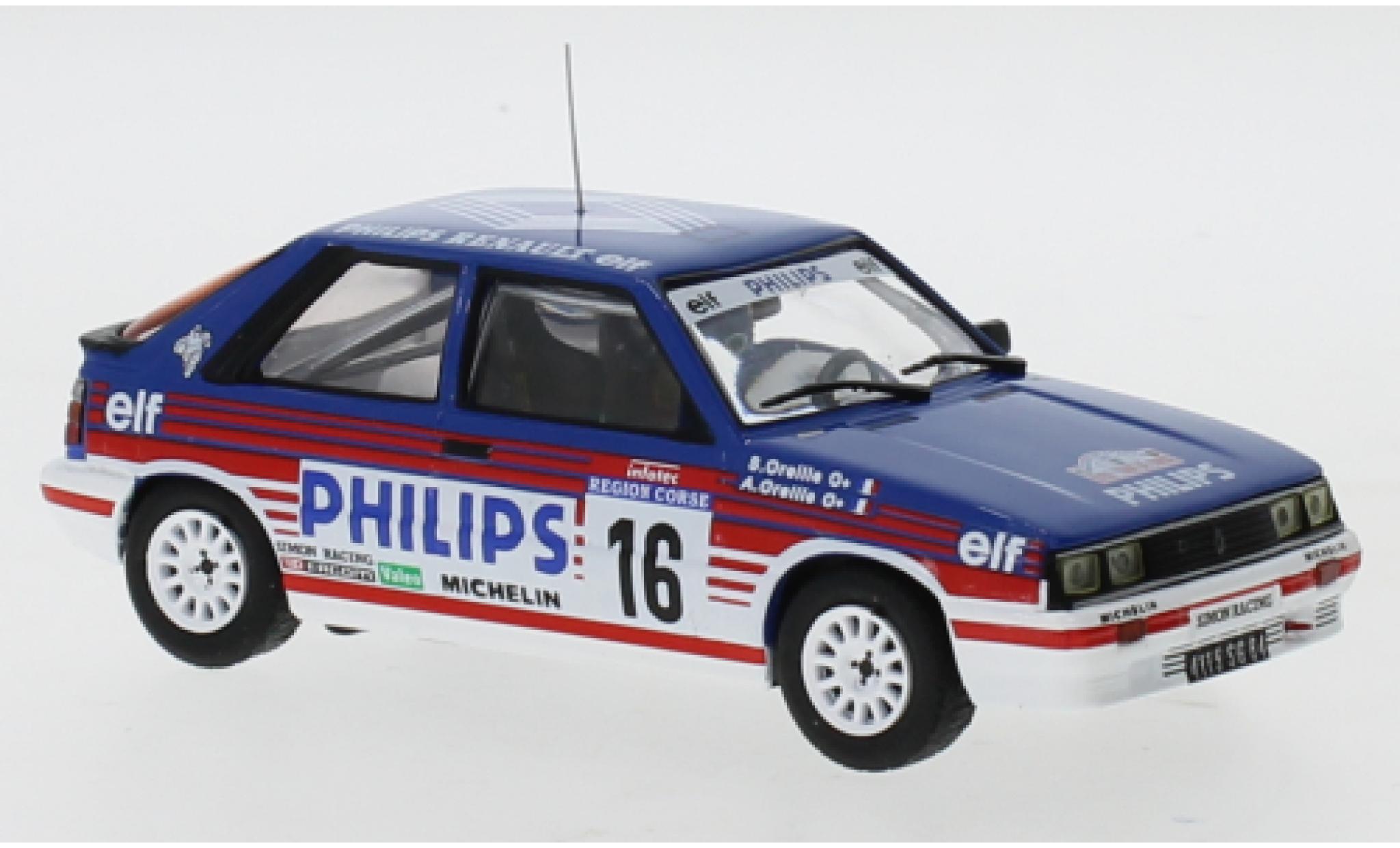 Renault 11 1/43 IXO Turbo No.16 Philips Rallye WM Tour de Corse 1987 A.Oreille/S.Oreille