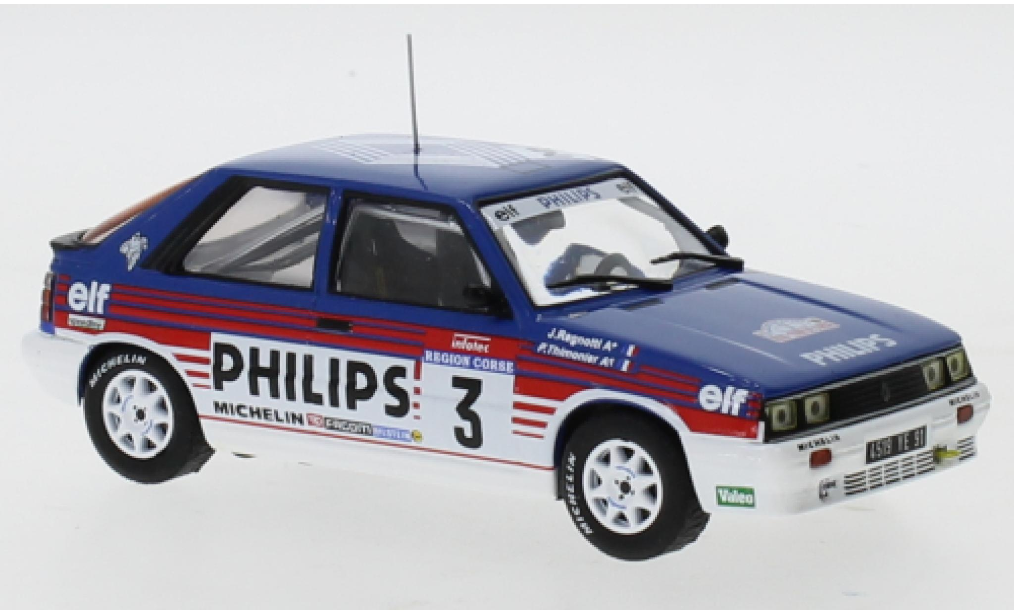 Renault 11 1/43 IXO Turbo No.3 Philips Rallye WM Tour de Corse 1987 J.Ragnotti/P.Thimonier
