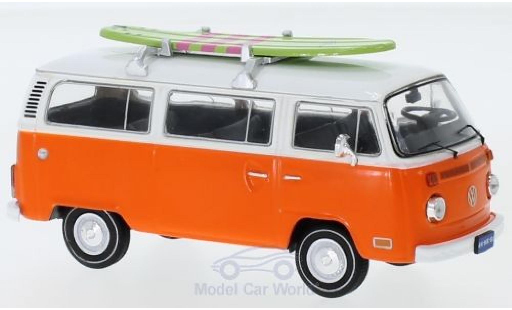 Volkswagen T2 1/43 IXO Bus orange/white 1975 mit Surfboard