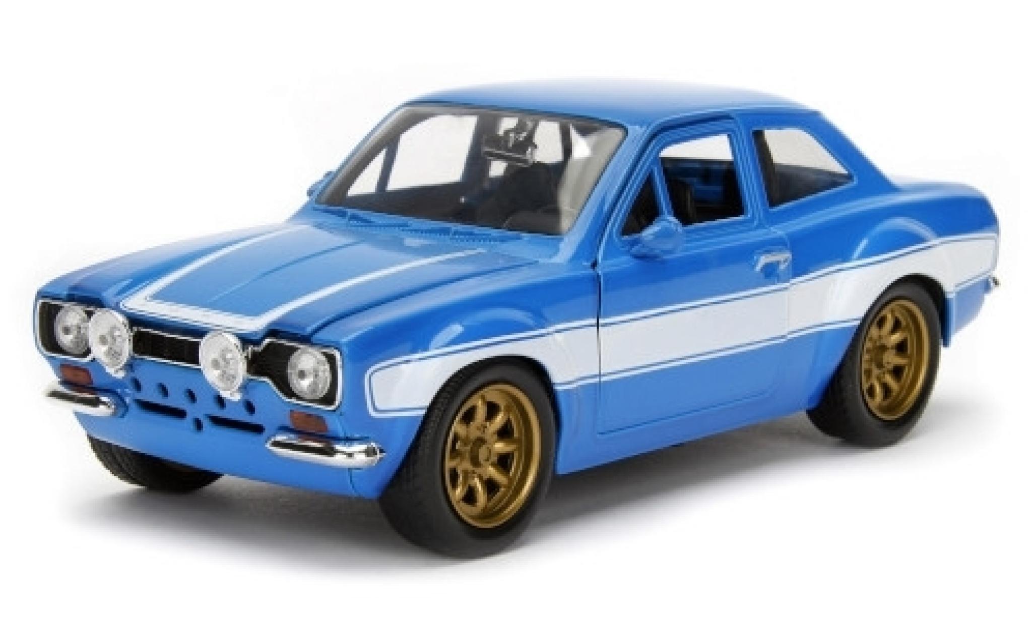 Ford Escort 1/24 Jada II Tuning bleue/blanche Fast & Furious 1974