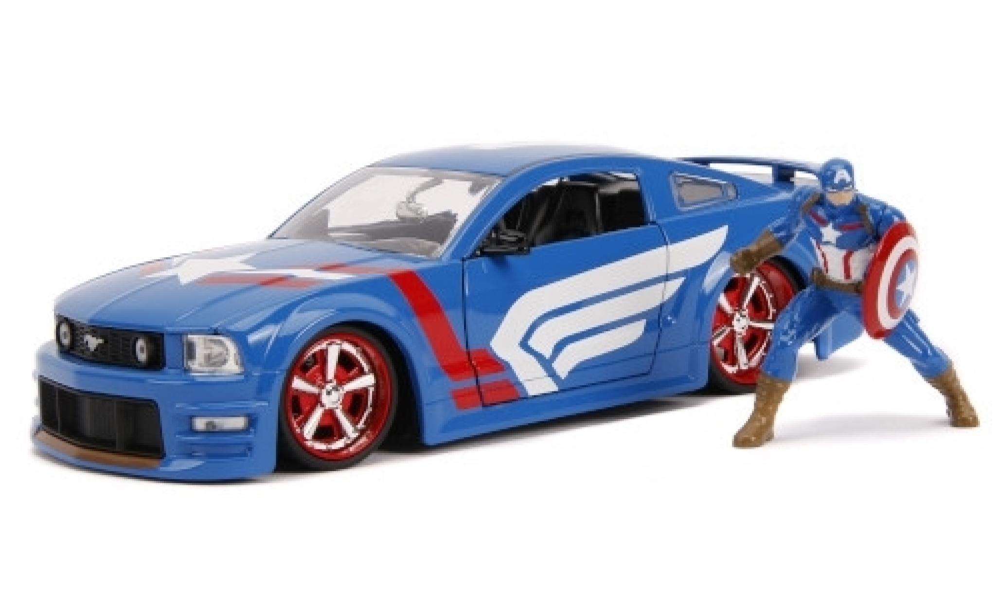 Ford Mustang 1/24 Jada GT bleue/Dekor Marvel Avengers - Captain America 2006 avec figurine