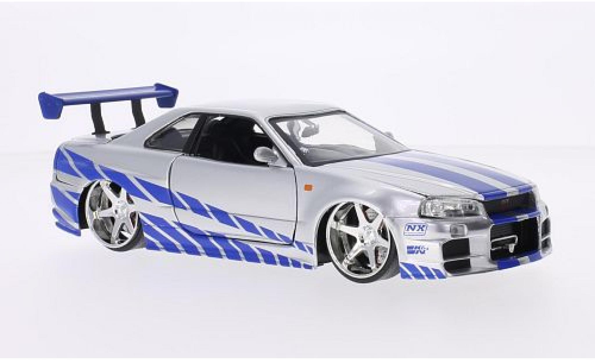 Nissan Skyline 1/24 Jada GT-R (R34) Tuning grey/Dekor RHD Fast & Furious 2002 tuning