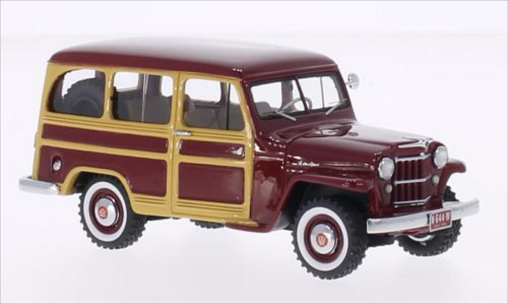 Jeep Willys 1/43 Neo Station Wagon rouge/Holzoptik 1954 miniature