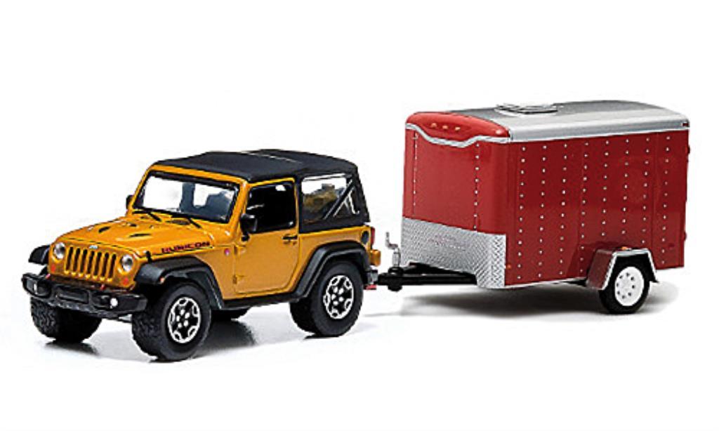 Jeep Wrangler 1/64 Greenlight Rubicon X jaune und 1-Achs-Anhanger 2014 miniature
