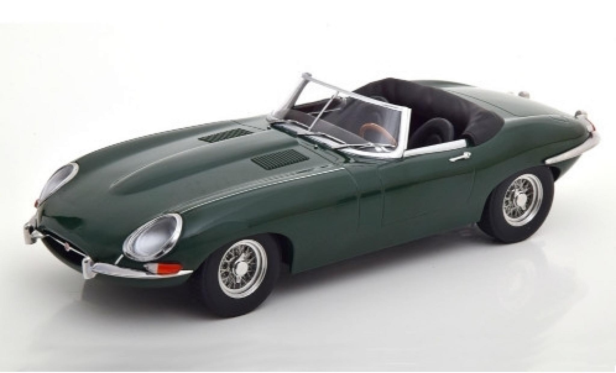 Jaguar E-Type 1/18 KK Scale Series I Roadster verte 1961 Verdeck ouvert