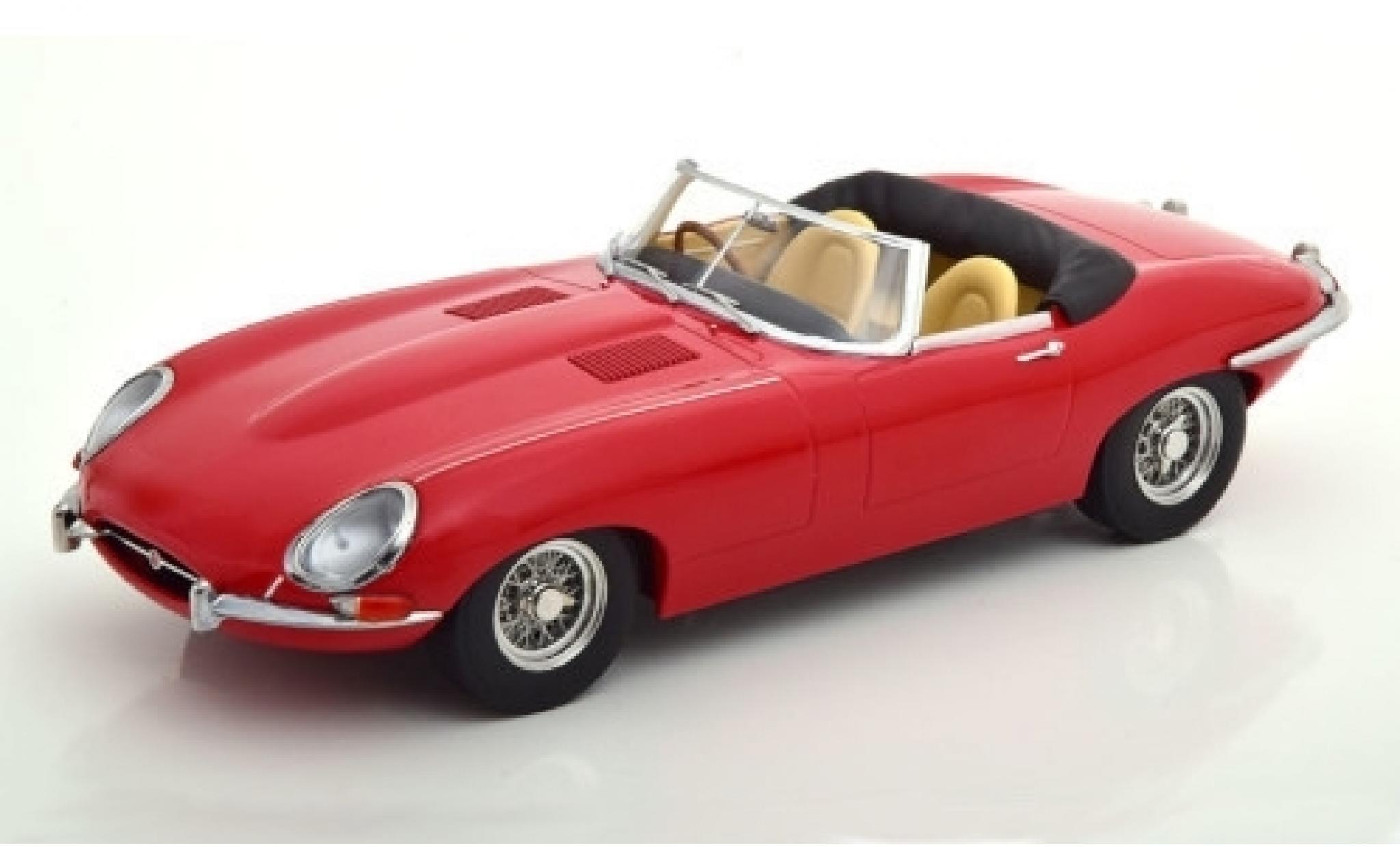 Jaguar E-Type 1/18 KK Scale Series I Roadster rouge RHD 1961 Verdeck ouvert