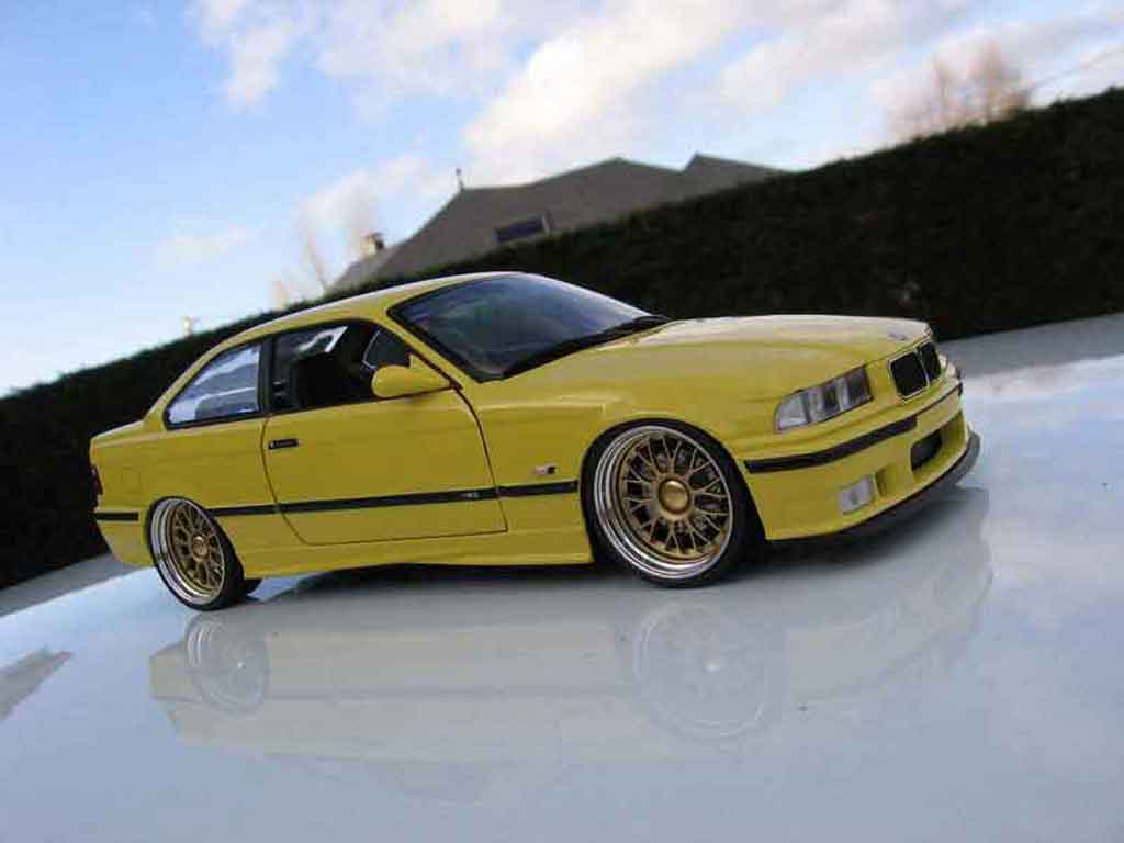 Bmw M3 E36 1/18 Ut Models jaune jantes bbs bords larges tuning diecast