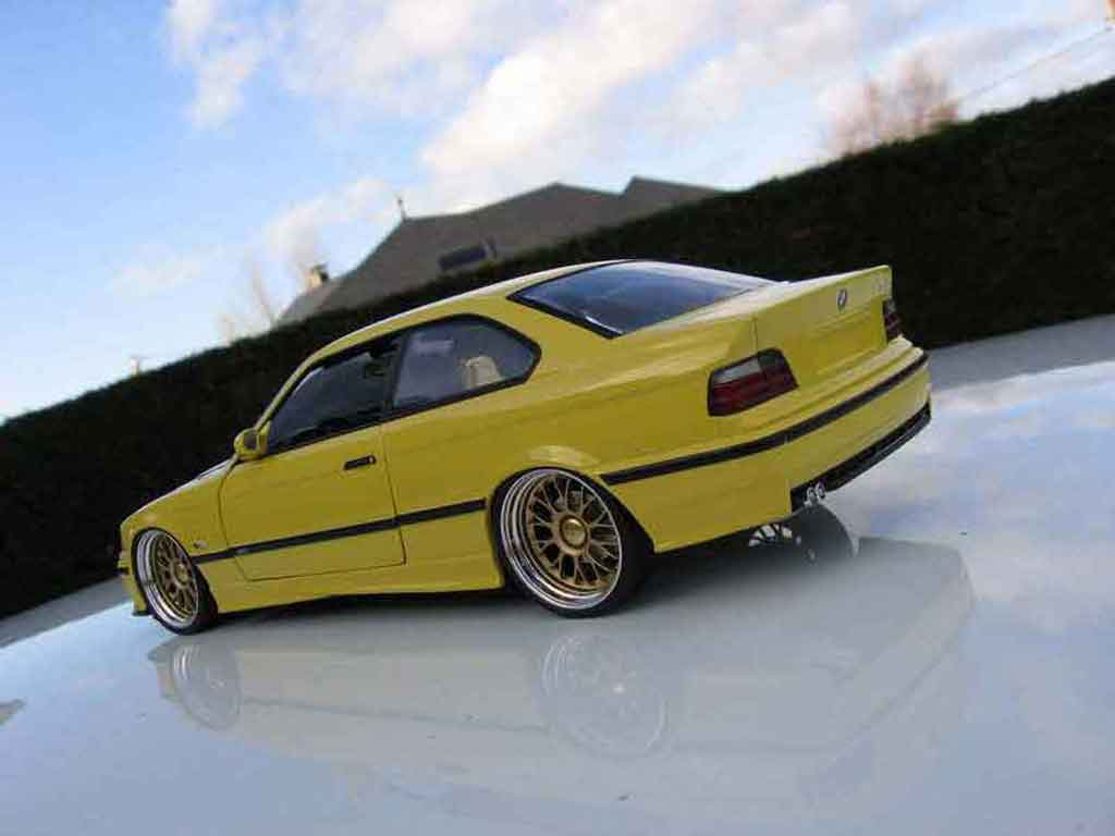 bmw m3 e36 jaune felgen bbs mit breiter krempe ut models modellauto 1 18 kaufen verkauf. Black Bedroom Furniture Sets. Home Design Ideas