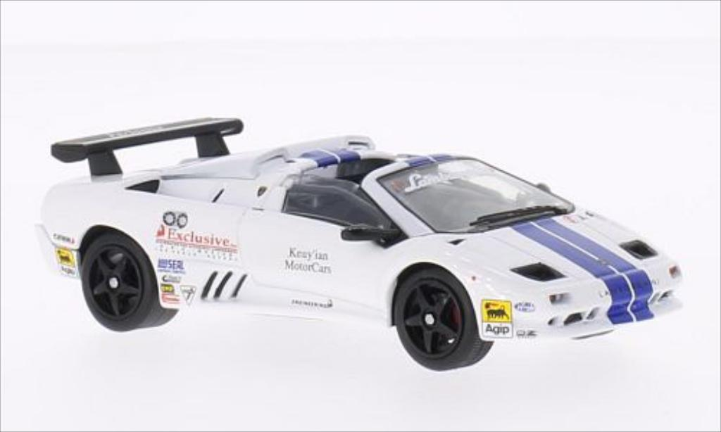 Lamborghini Diablo 1/43 WhiteBox VT-R Roadster Trofeo white/bleu 1997 diecast model cars