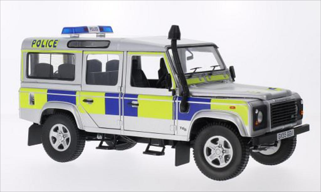 Land Rover Defender 1/18 Universal Hobbies 110 County Station Wagon Police (GB) gris RHD 2004 coche miniatura