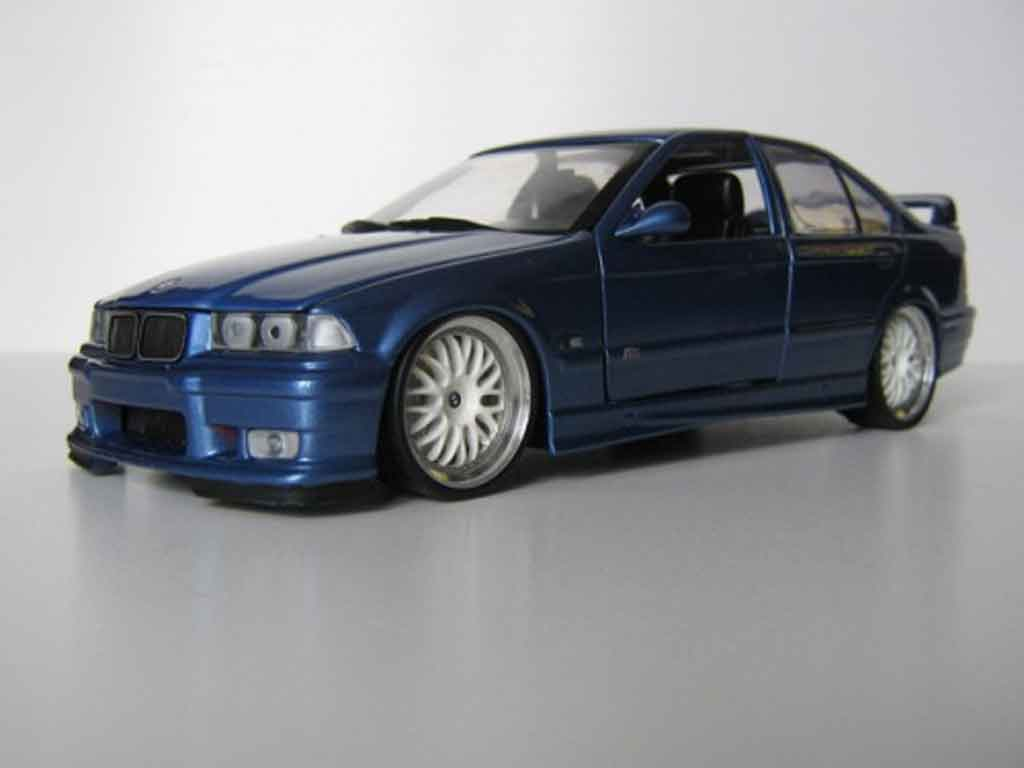 Bmw M3 E36 berline 1/18 Ut Models bleu estoril jantes bbs tuning coche miniatura