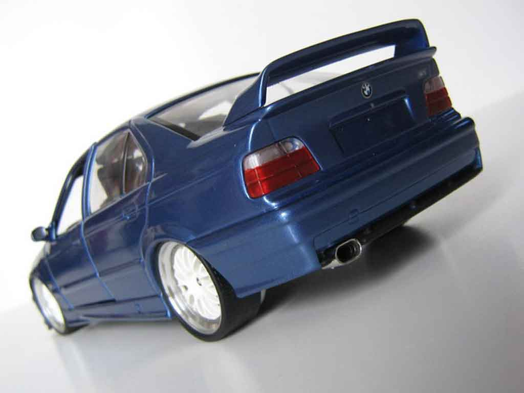 Auto miniature Bmw M3 E36 berline bleu estoril jantes bbs tuning Ut Models. Bmw M3 E36 berline bleu estoril jantes bbs miniature 1/18
