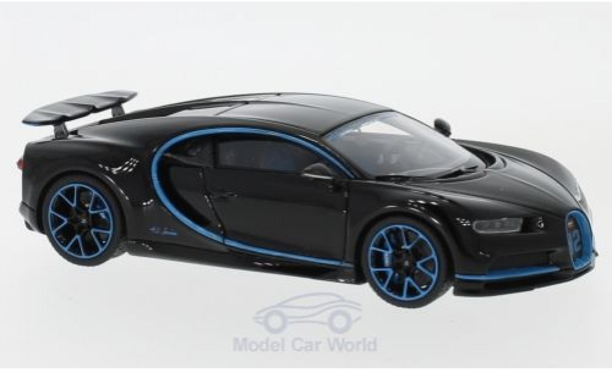 Bugatti Chiron 1/43 Look Smart Zero-400-Zero dunkelblue/blue mit ausgefahrenem Heckspoiler
