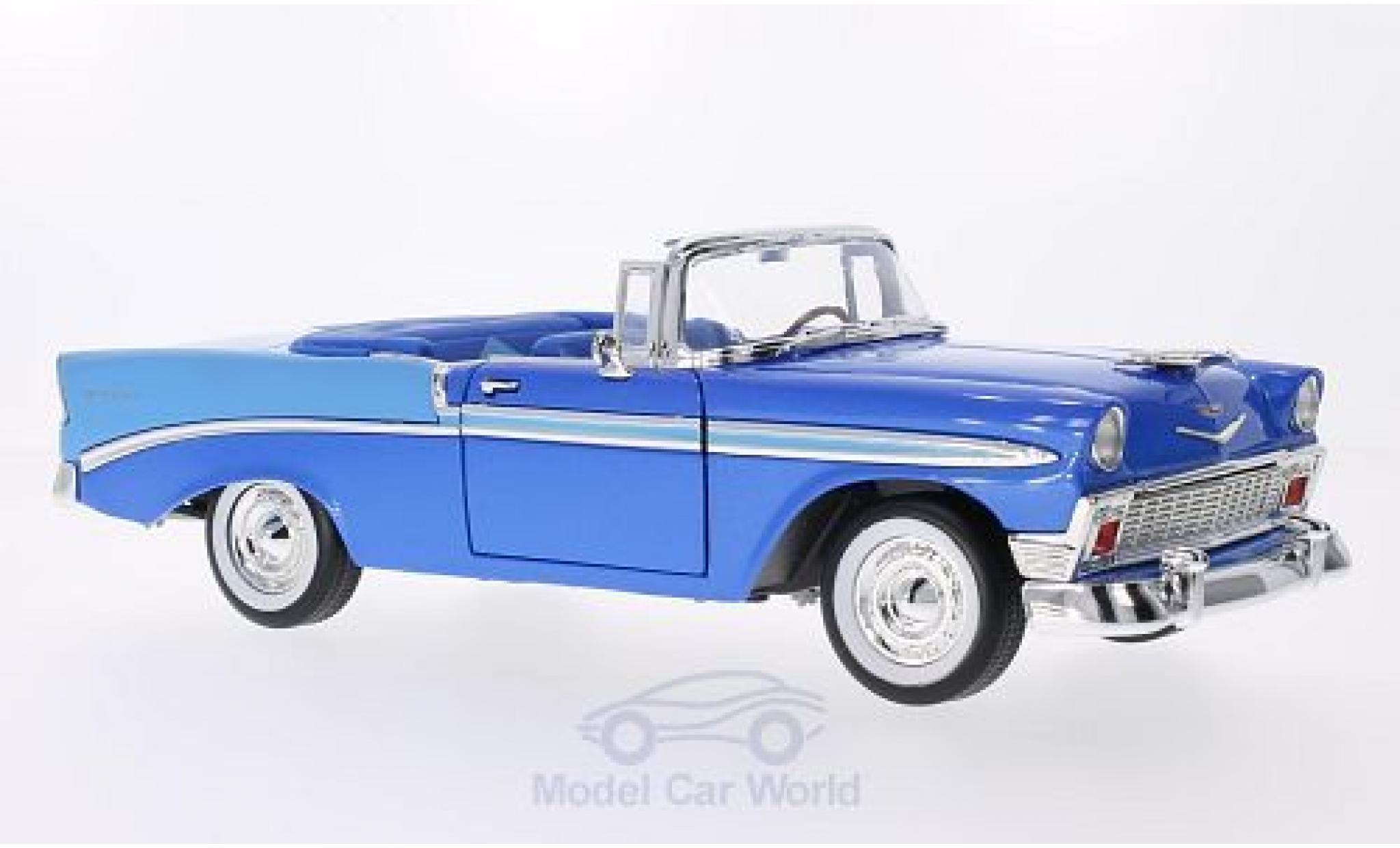 Chevrolet Bel Air 1/18 Lucky Die Cast metallic-bleue/hellbleue 1956
