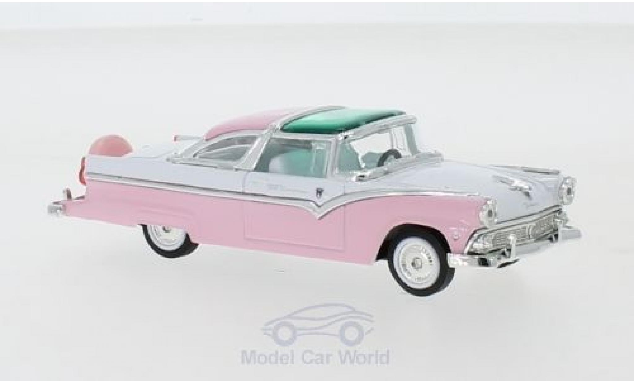 Ford Crown 1/18 Lucky Die Cast Victoria rose/blanche 1955