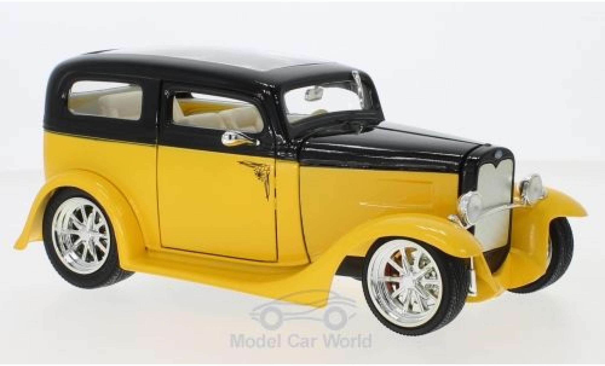 Ford Model A 1/18 Lucky Die Cast Sedan jaune/noire 1931 ohne Vitrine