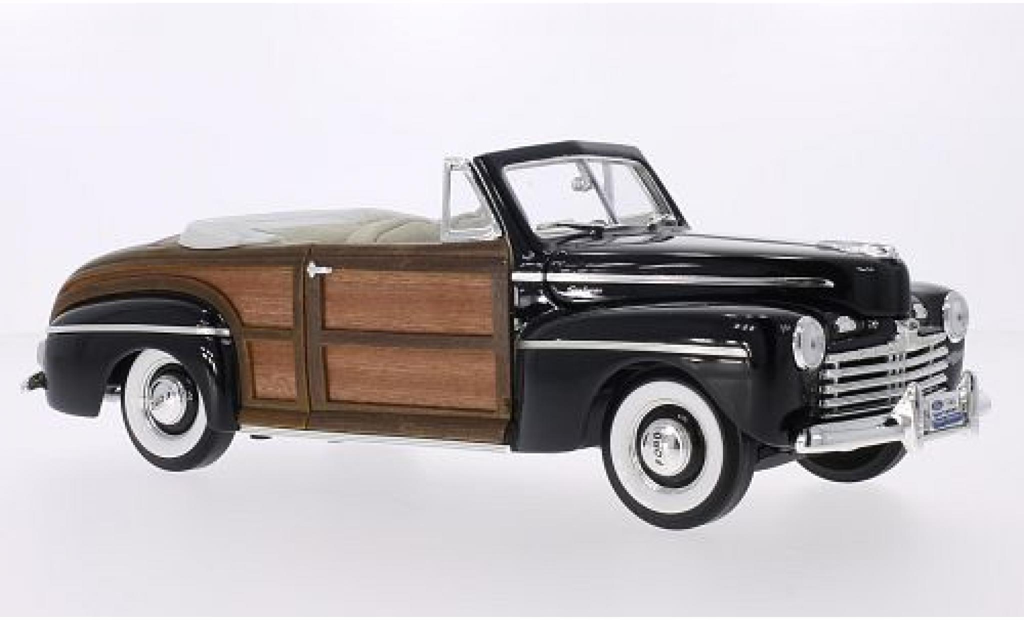 Ford Super Deluxe 1/18 Lucky Die Cast Sportsman Convertible noire/Holzoptik 1946 Sofftop liegt bei mit Wildledersitzen