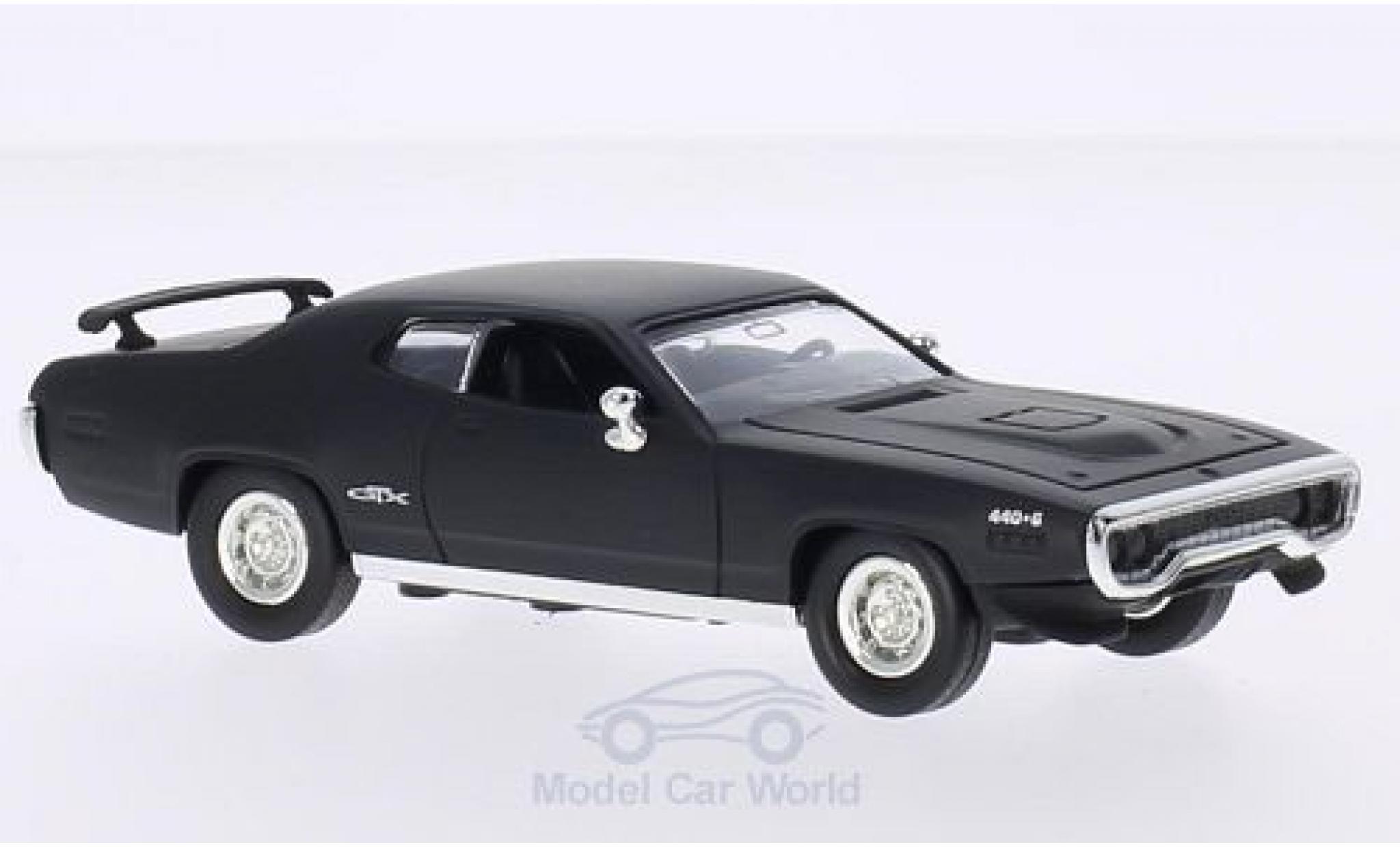 Plymouth GTX 1/43 Lucky Die Cast matt-noire 1971 ohne Vitrine