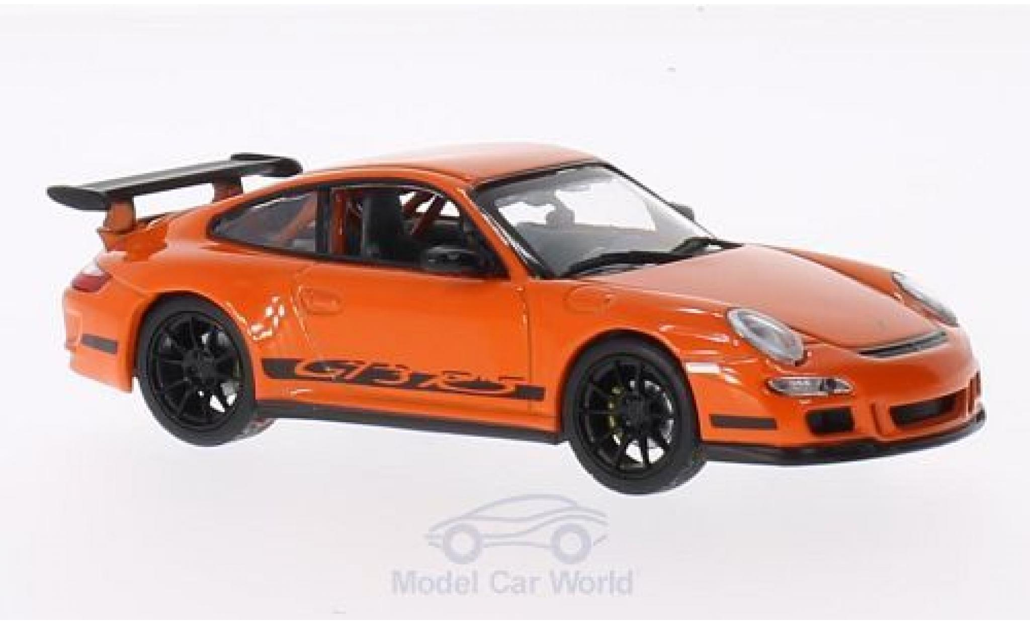 Porsche 997 GT3 RS 1/43 Lucky Die Cast Felgen u. Streifen black orange
