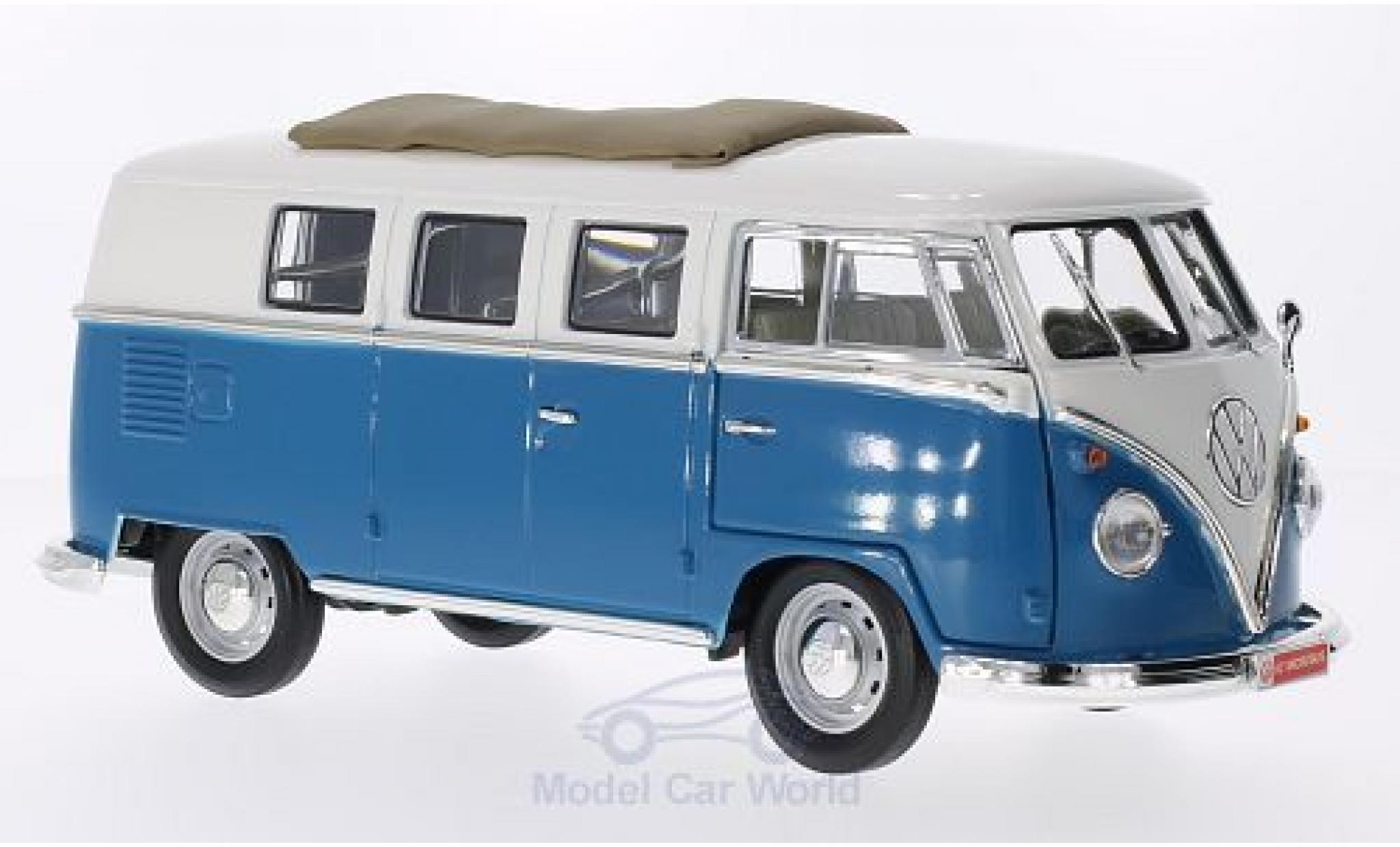 Volkswagen T1 B 1/18 Lucky Die Cast Microbus mit Faltdach blue/white 1962