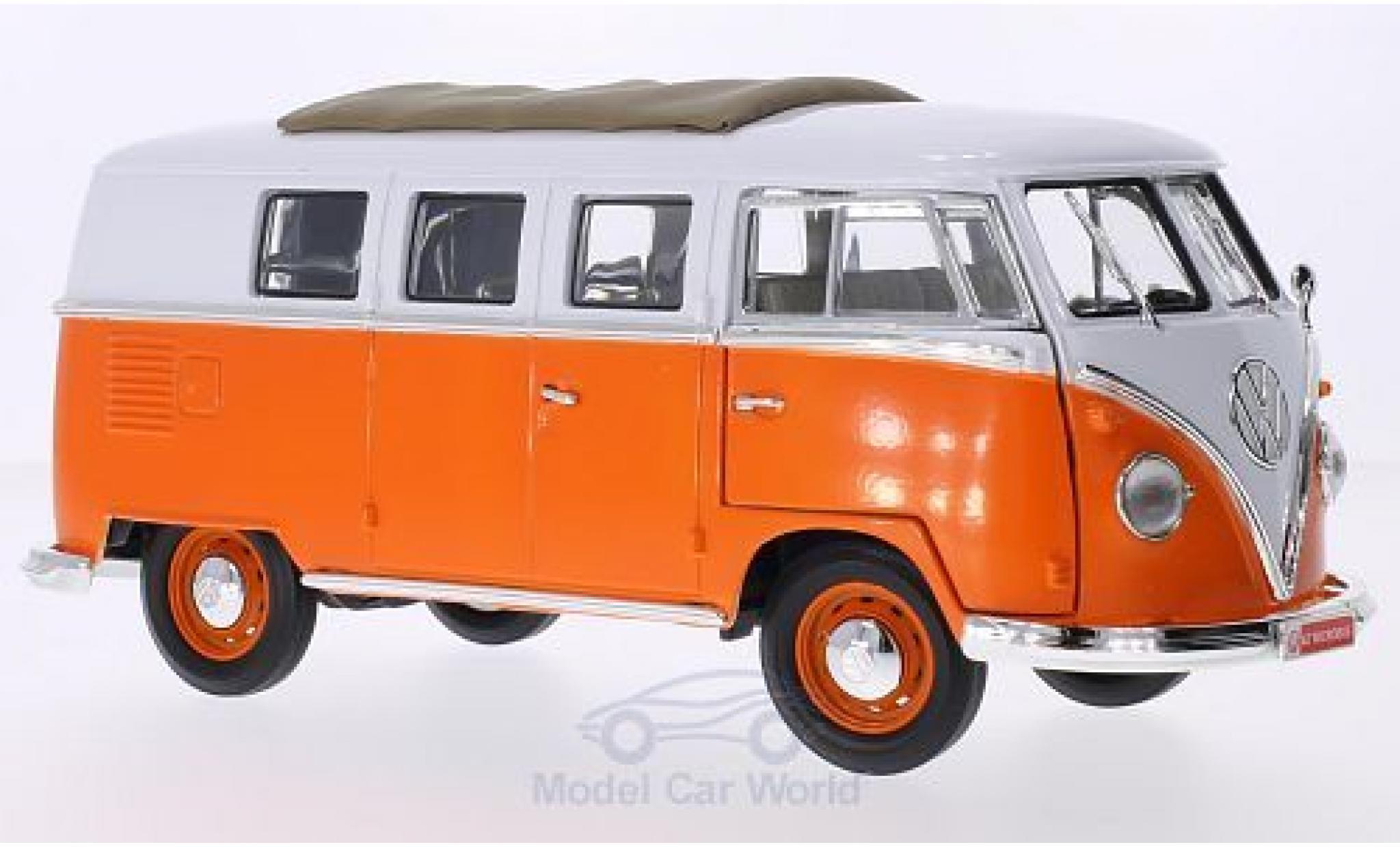 Volkswagen T1 1/18 Lucky Die Cast Microbus orange/blanche 1962 Faltdach mit Funktion