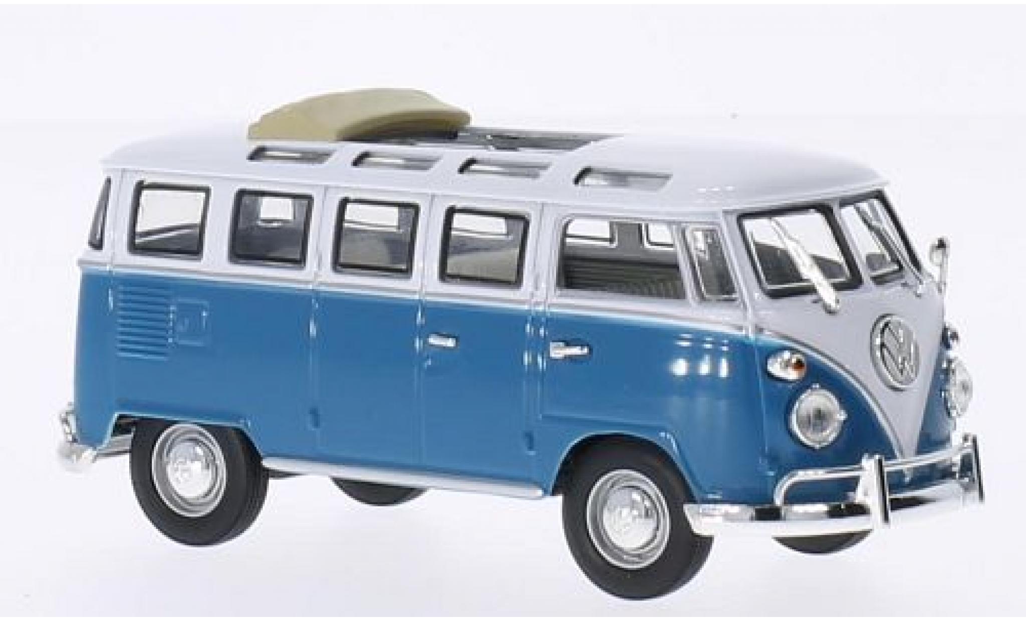 Volkswagen T1 1/43 Lucky Die Cast Samba Faltdach geöffnet bleue/blanche 1962