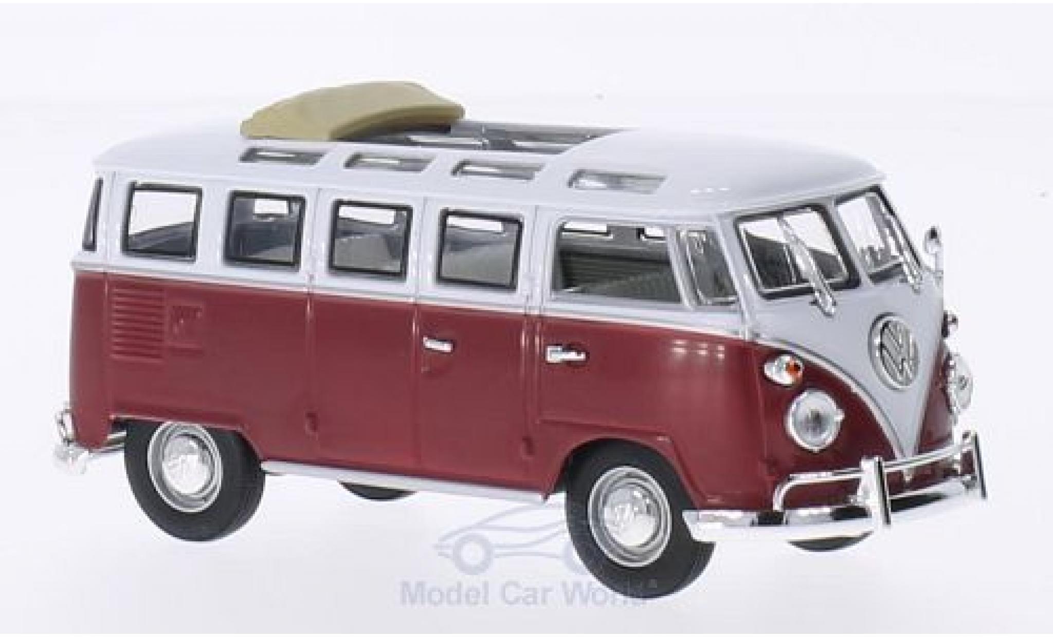 Volkswagen T1 1/43 Lucky Die Cast Samba Faltdach geöffnet rot/weiss 1962