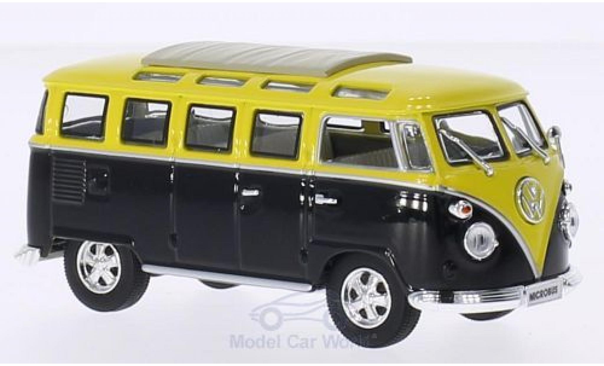 Volkswagen T1 B 1/43 Lucky Die Cast Samba black/yellow 1962 Faltdach geschlossen mit Chromstoßstangen und -felgen