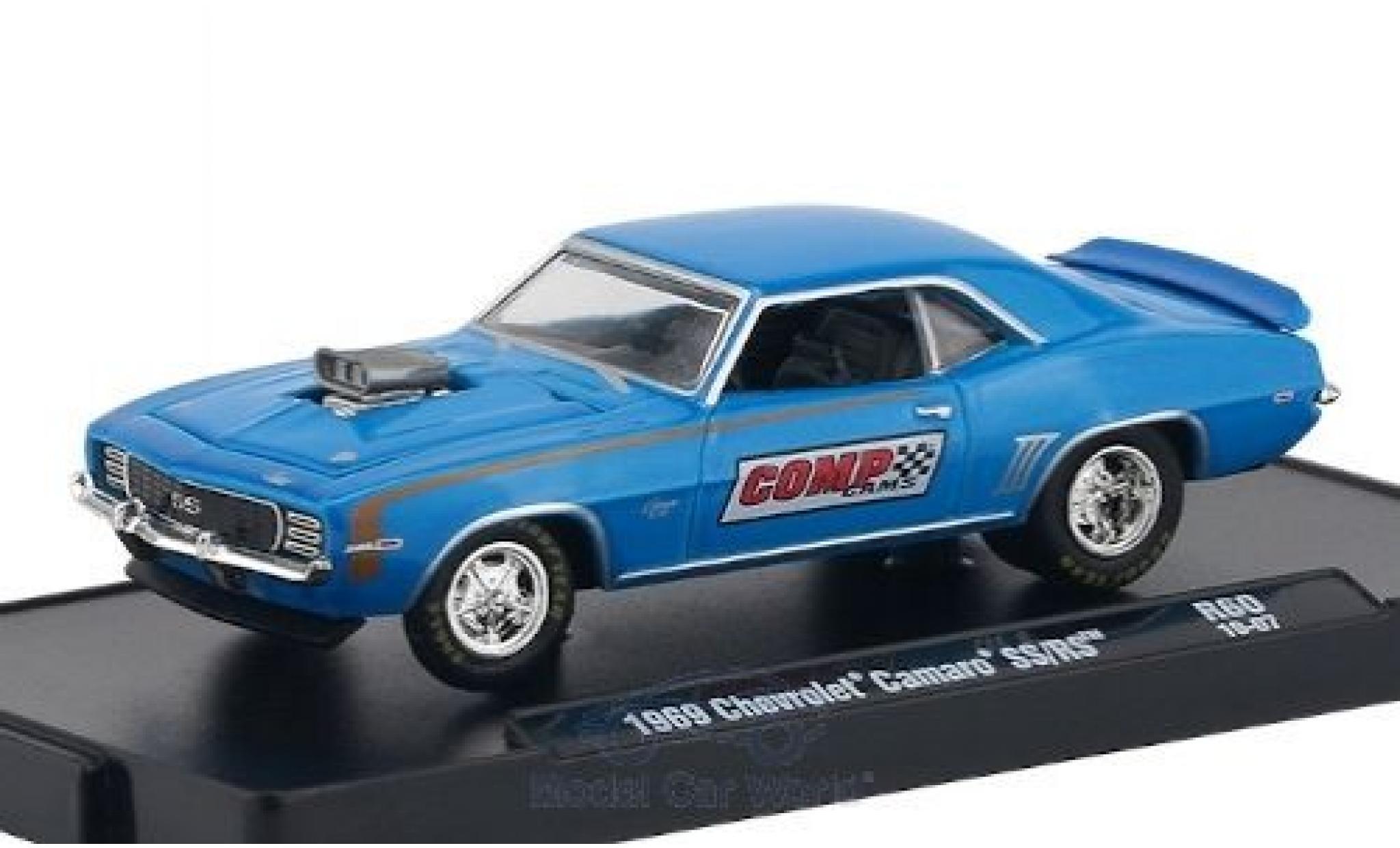 Chevrolet Camaro 1/64 M2 Machines SS/RS metallise bleue/Dekor Comp Cams 1969