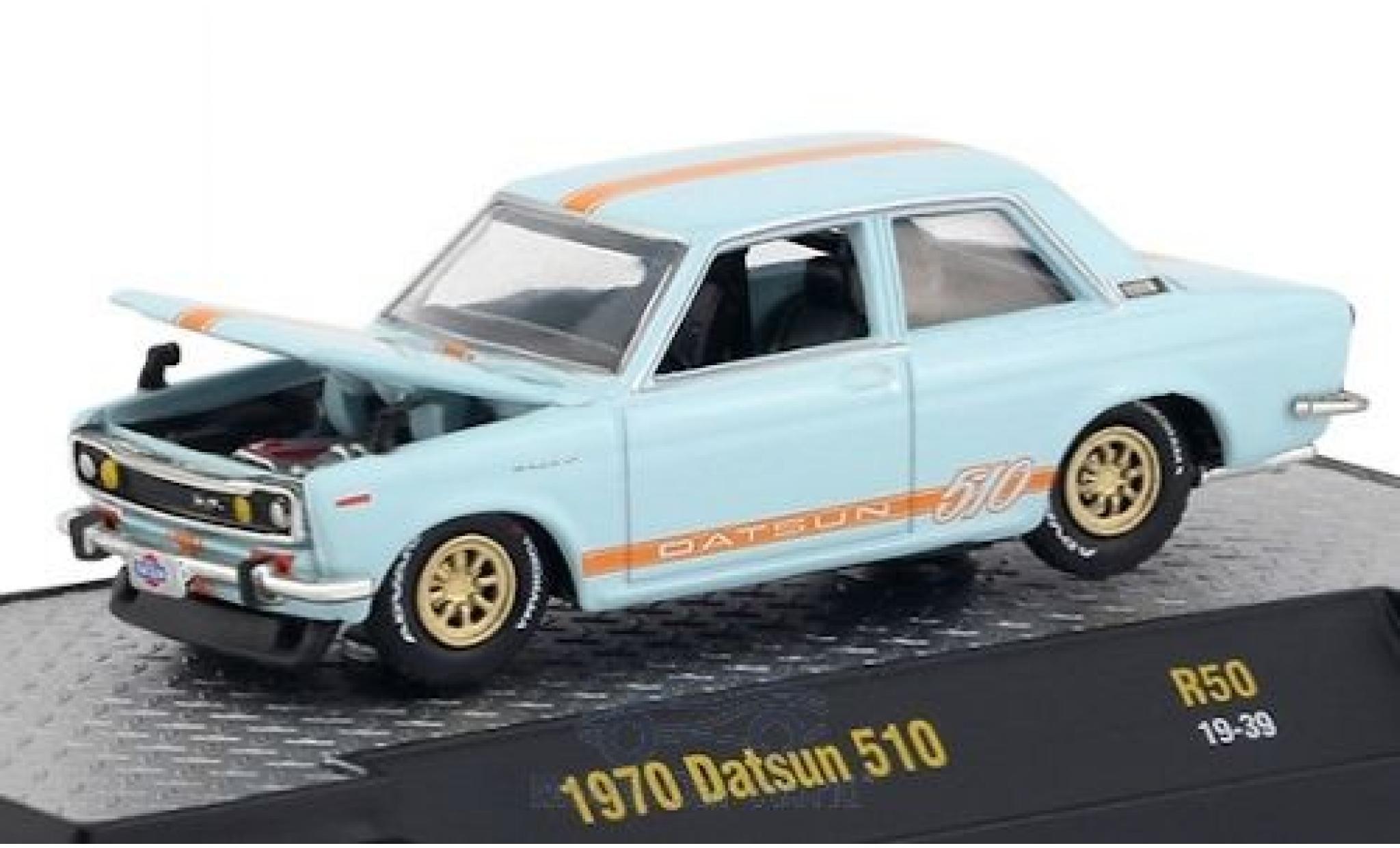 Datsun 510 1/64 M2 Machines bleue/orange 1970