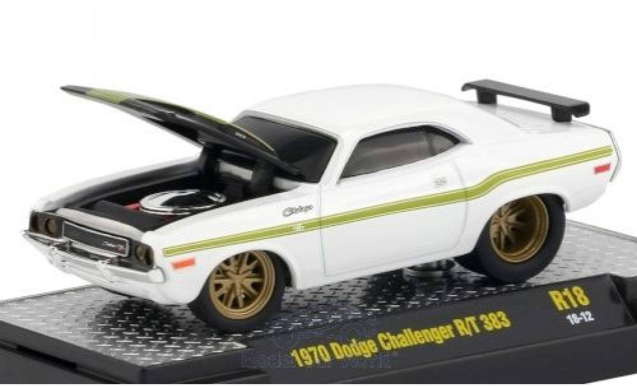 Dodge Challenger 1970 1/64 M2 Machines R/T 383 white/black