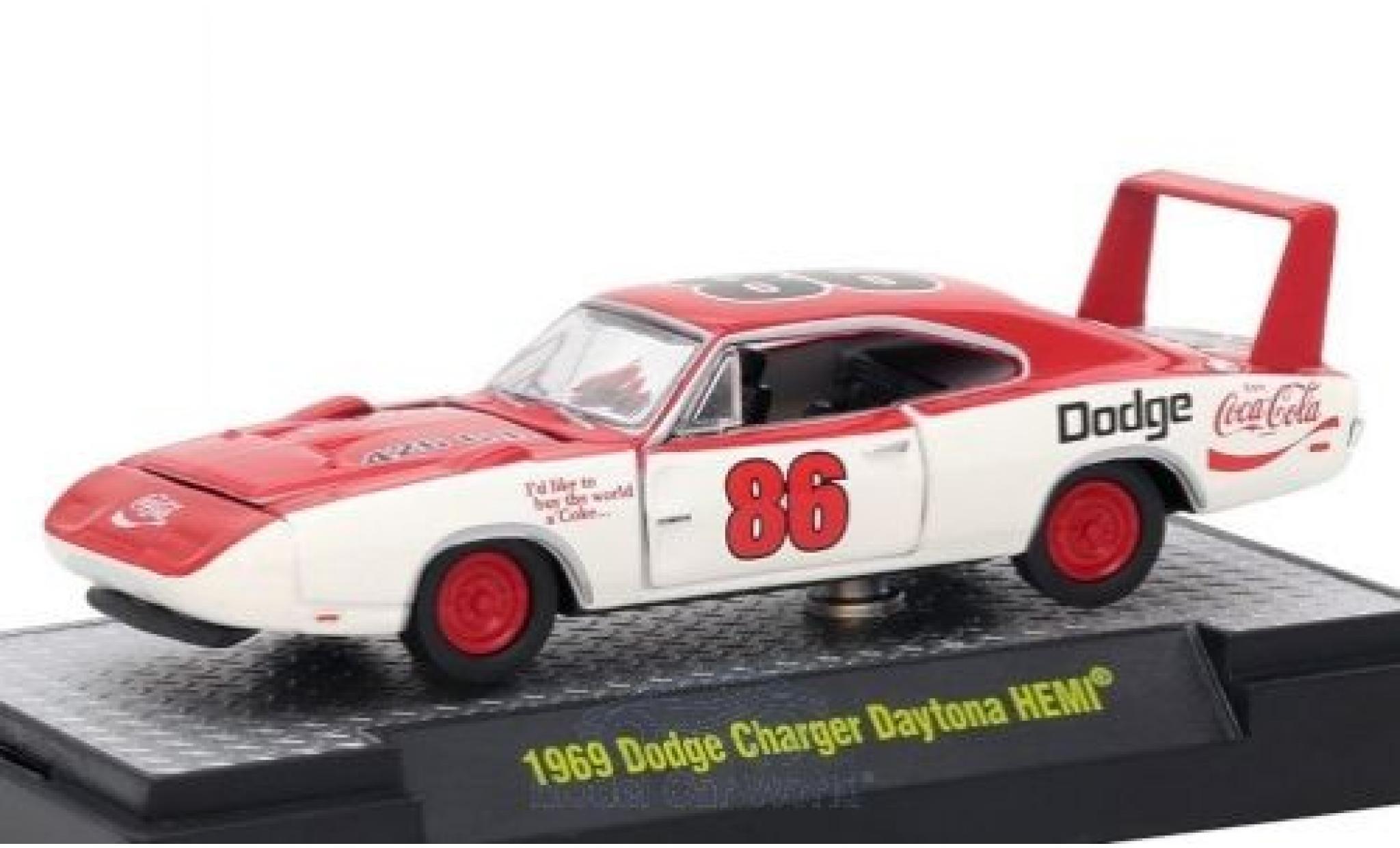 Dodge Charger Daytona 1/64 M2 Machines HEMI blanche/rouge Coca Cola 1969