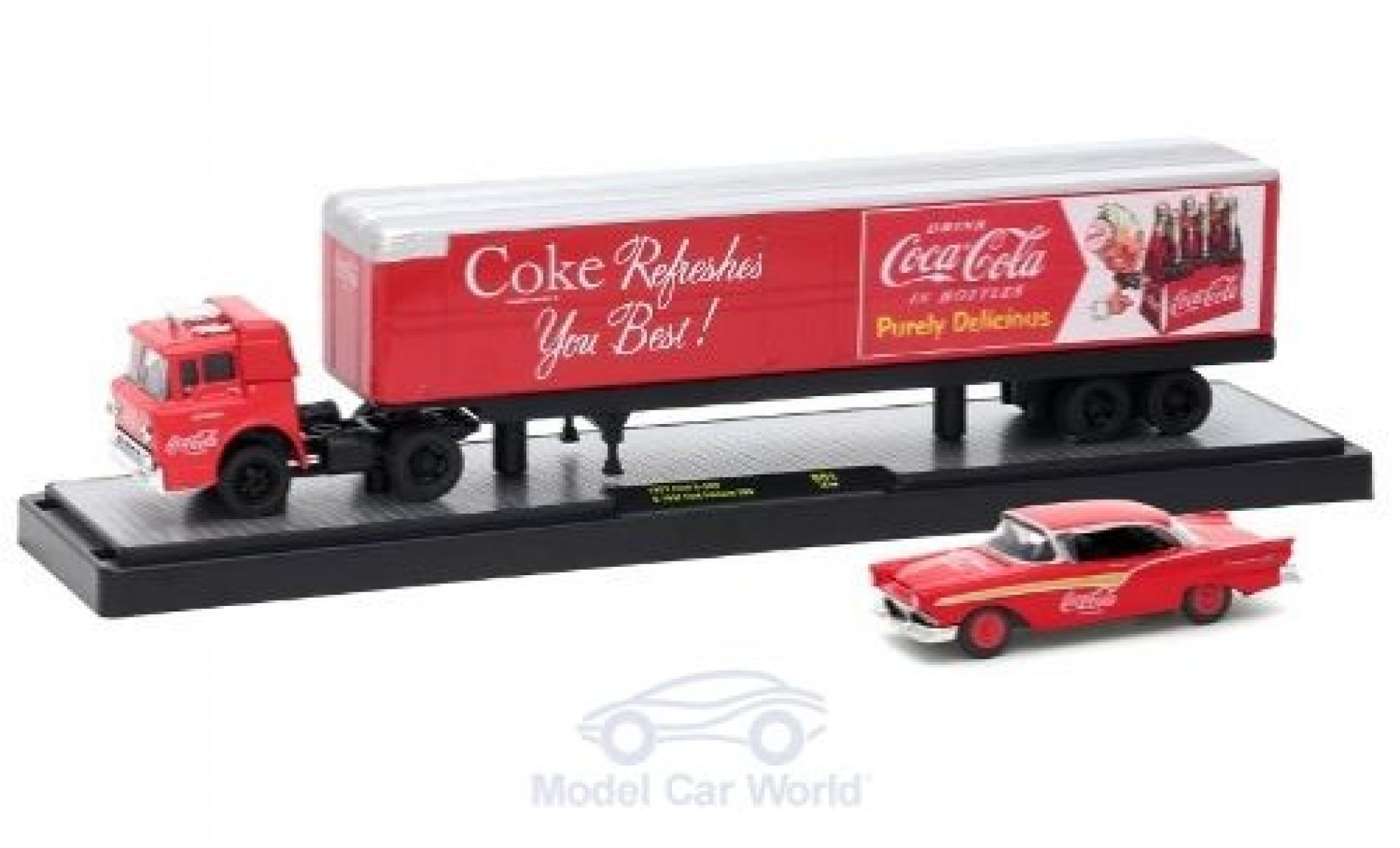 Ford C600 1/64 M2 Machines C-600 rot/silber Coca Cola 1957 mit 1957 Fairlane 500
