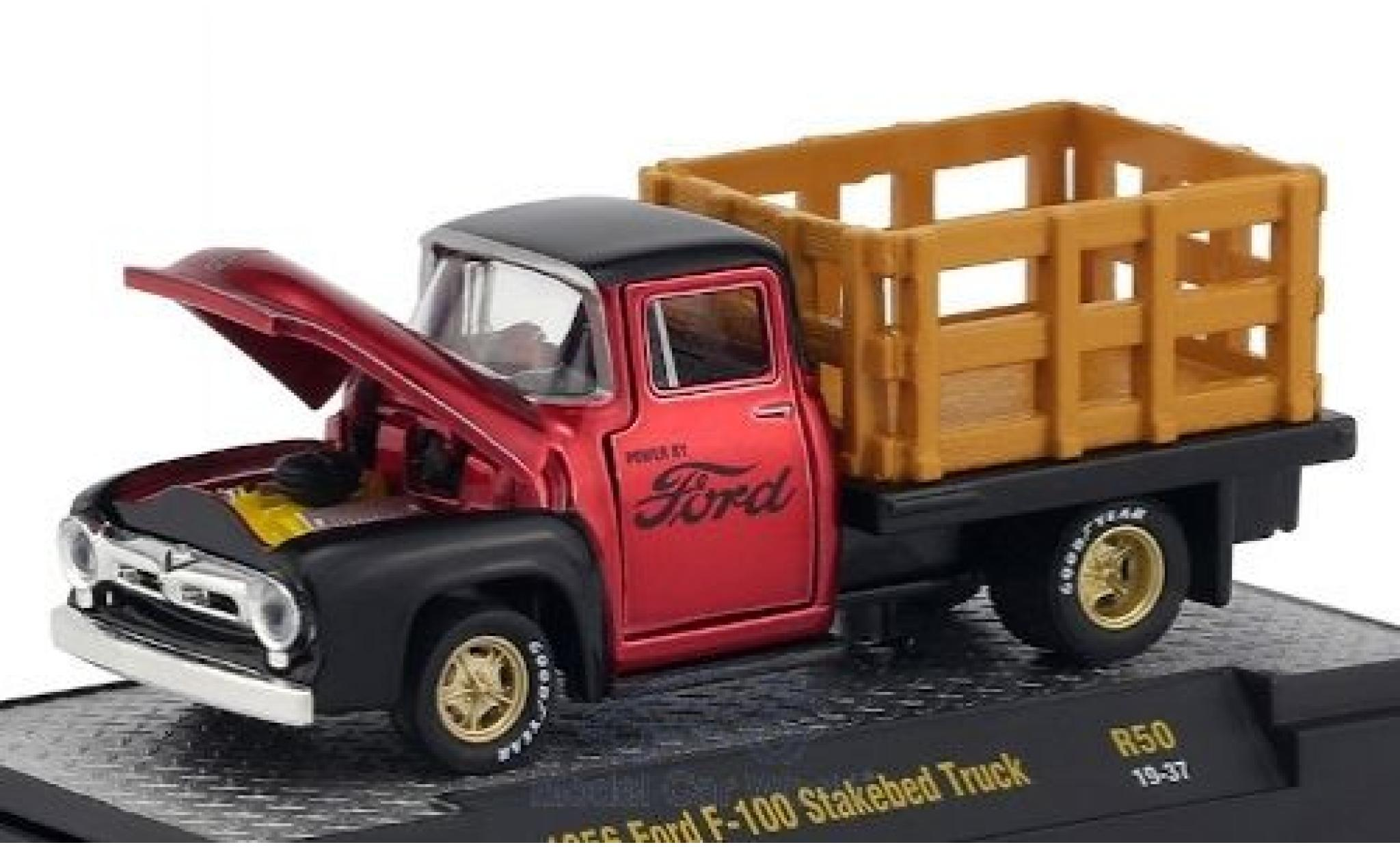 Ford F-1 1/64 M2 Machines 00 Stakebed Truck metallise rouge/noire 1956