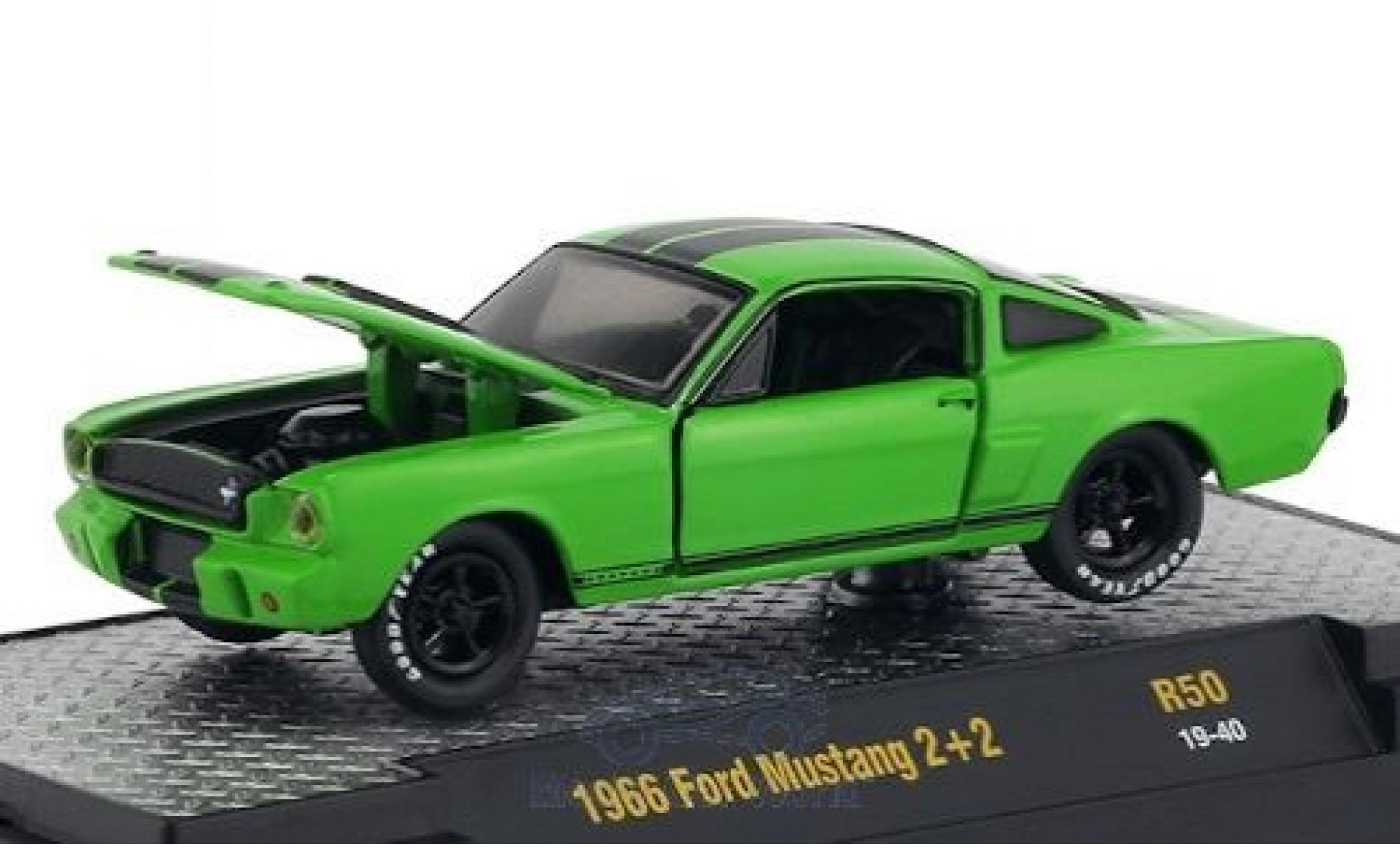 Ford Mustang 1/64 M2 Machines 2+2 green/black 1966