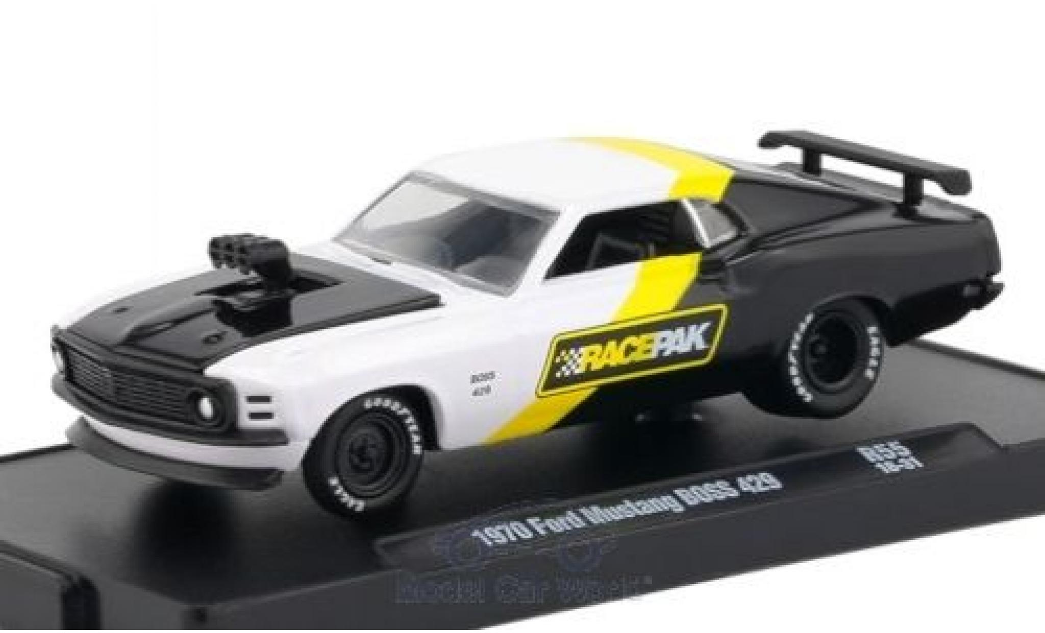 Ford Mustang 1970 1/64 M2 Machines Boss 429 blanche/noire 1970