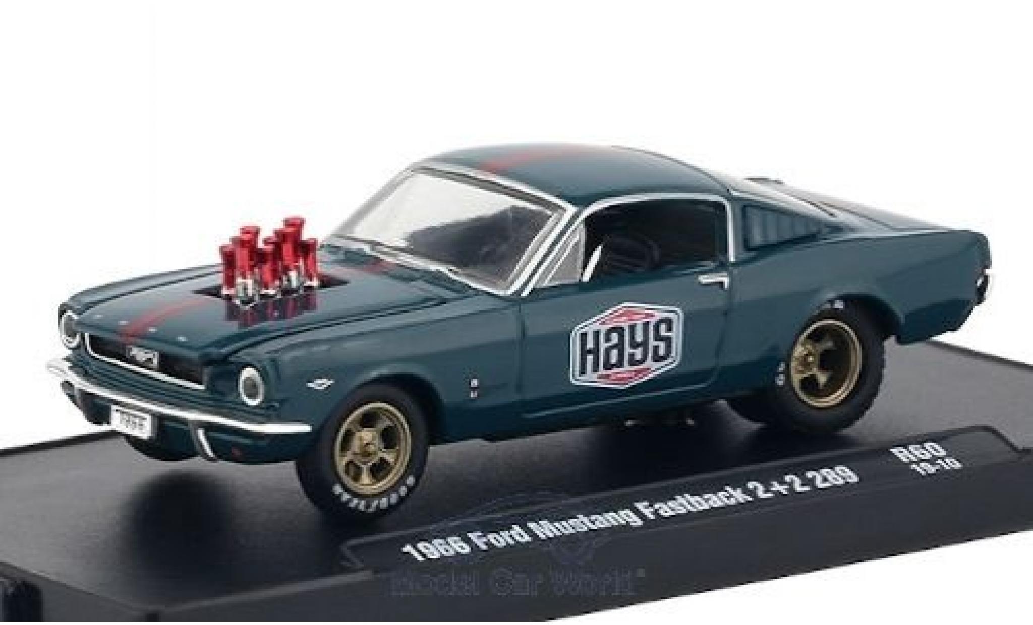 Ford Mustang 1/64 M2 Machines Fastback 2+2 289 bleue/matt-rouge Hays 1966