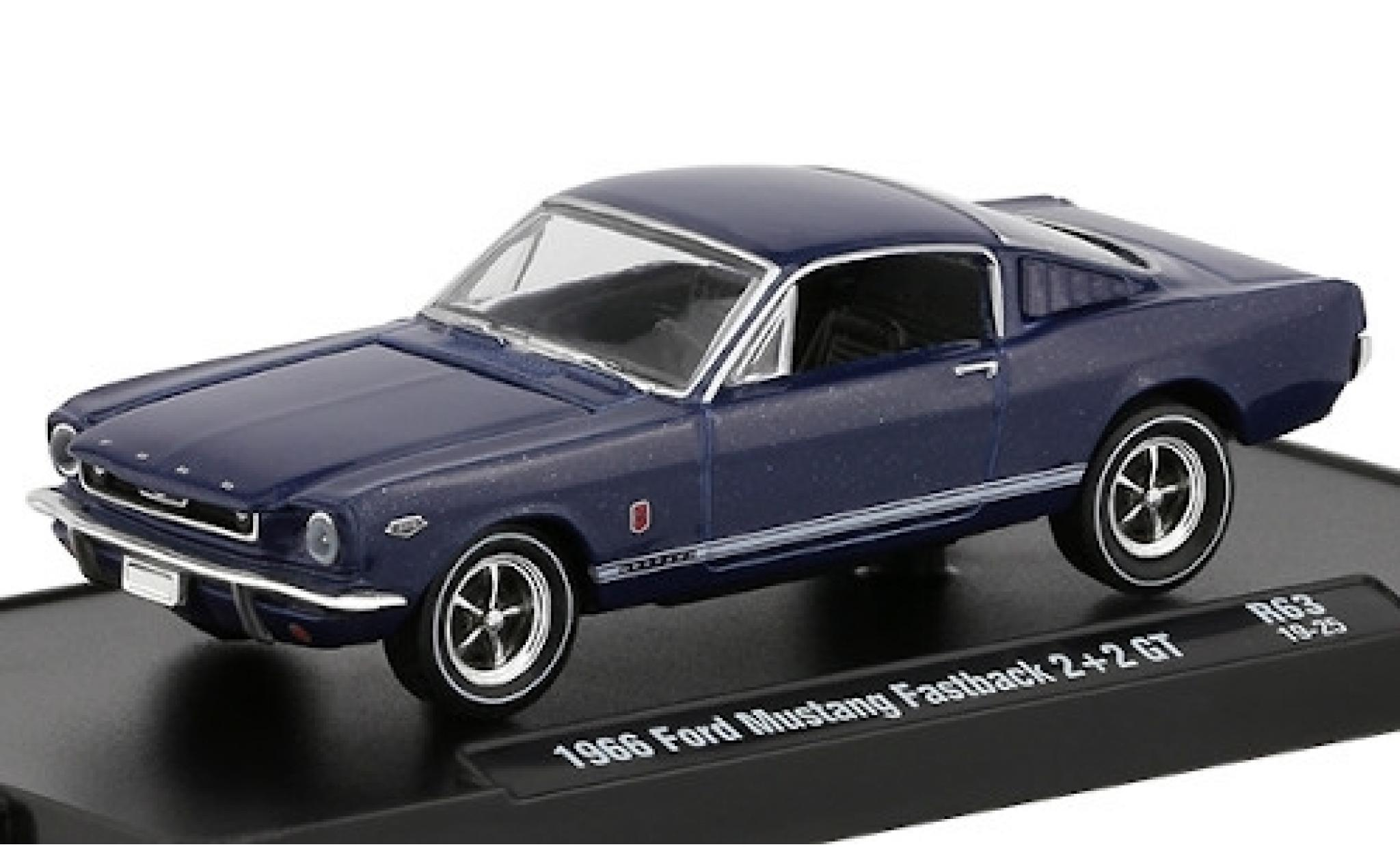 Ford Mustang 1/64 M2 Machines Fastback 2+2 GT métallisé bleue 1966