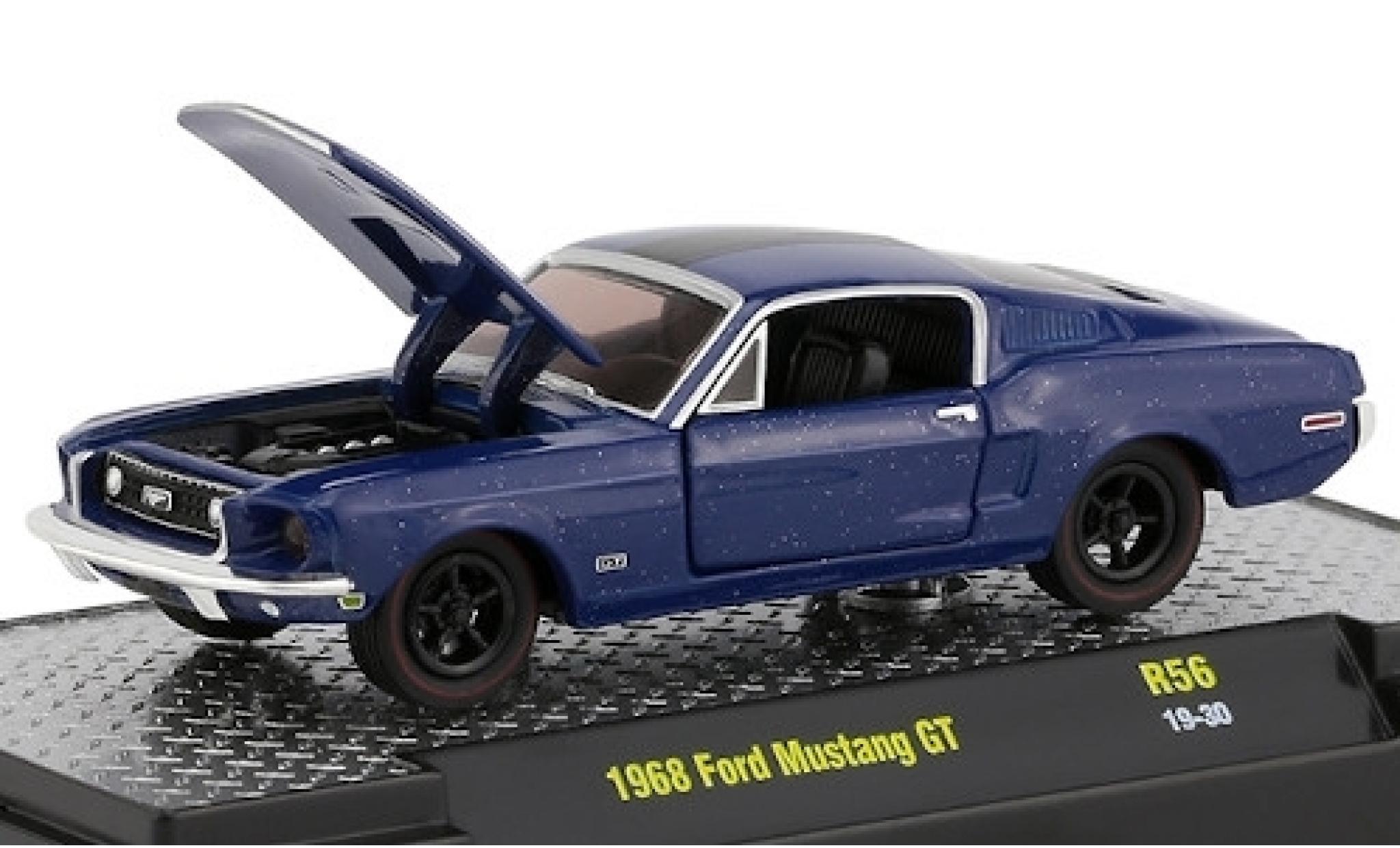 Ford Mustang 1/64 M2 Machines GT métallisé bleue/matt-noire 1968