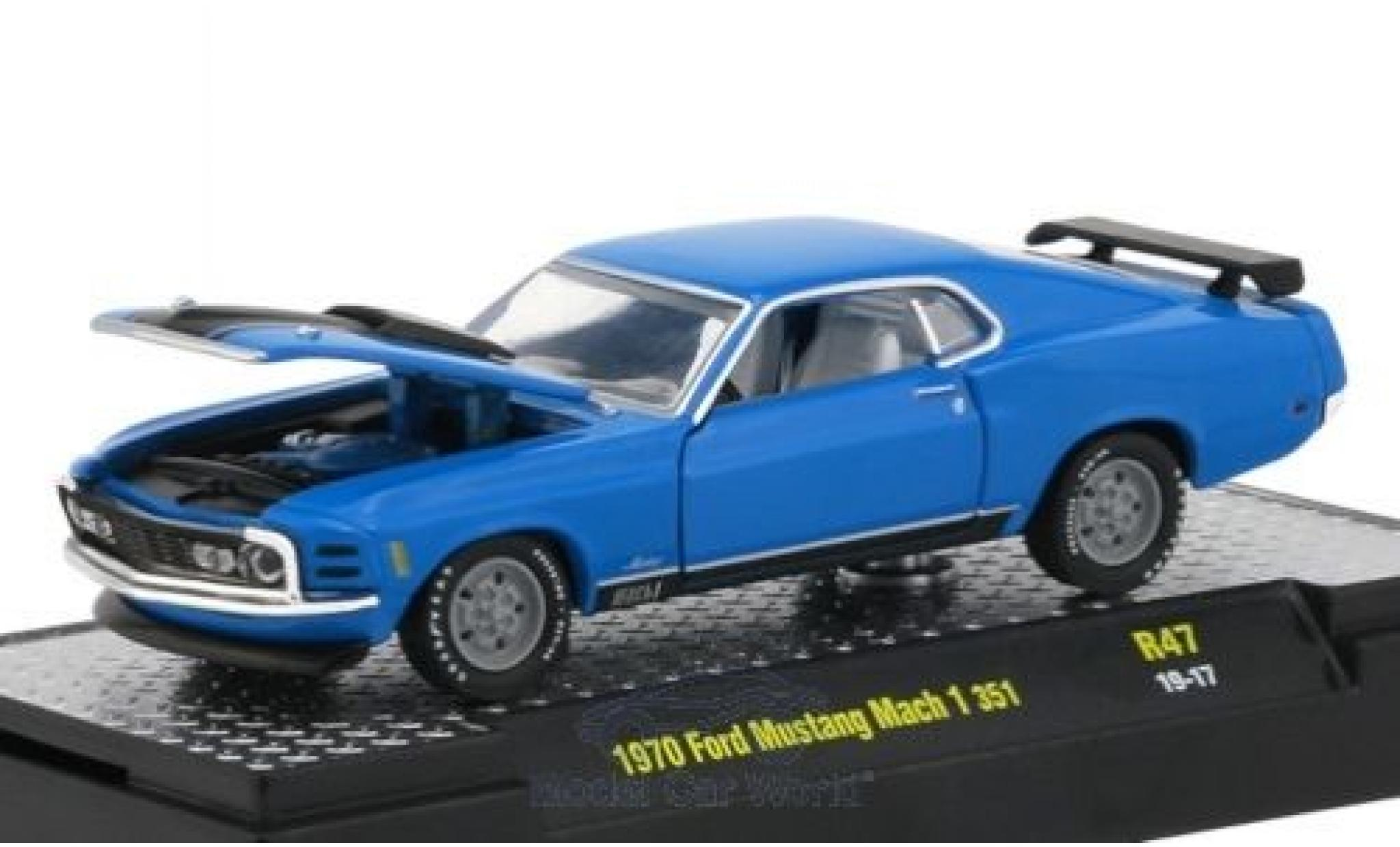 Ford Mustang 1/64 M2 Machines Mach 1 351 blue/matt-black 1970