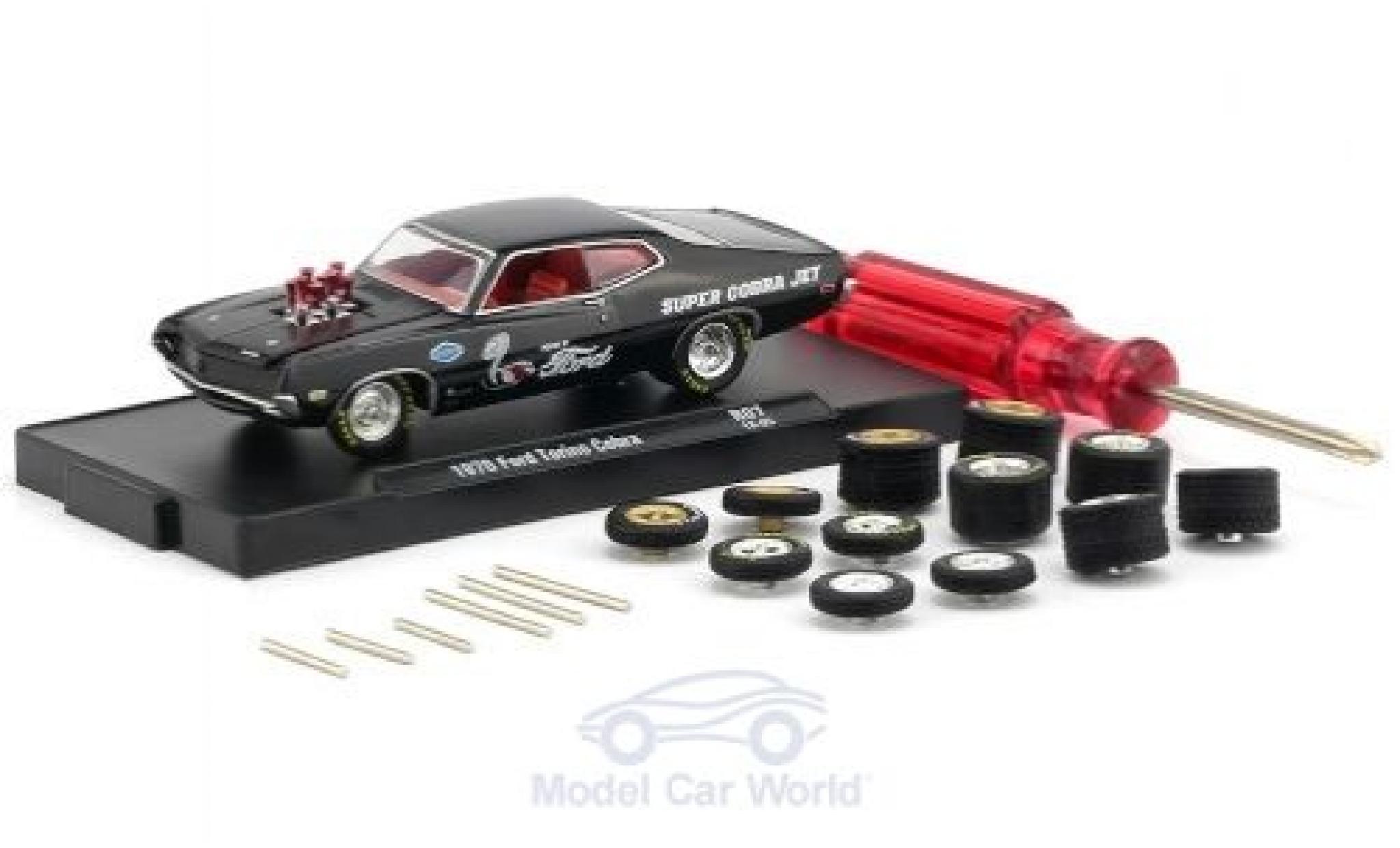 Ford Torino 1/64 M2 Machines Cobra noire 1970 inklusive 12 Austauschrädern 6 Achsen und 1 Schraubenzieher Auto-Wheels Release 06