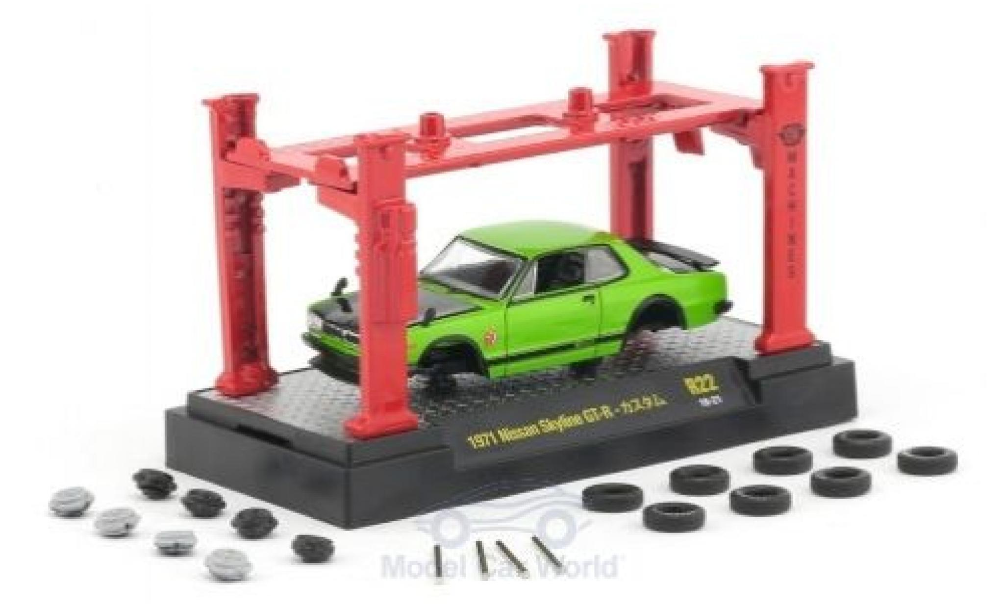 Nissan Skyline 1/64 M2 Machines GT-R green/black 1971 Model-Kit Bausatz inklusive 4 Ersatzrädern