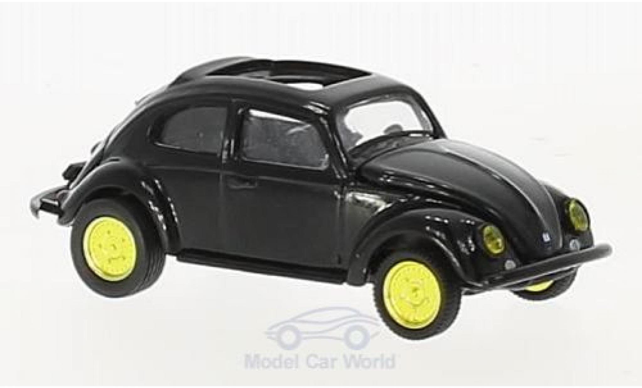 Volkswagen Beetle 1/64 M2 Machines Deluxe noire U.S.A.Model 1953 mit golden Felgen