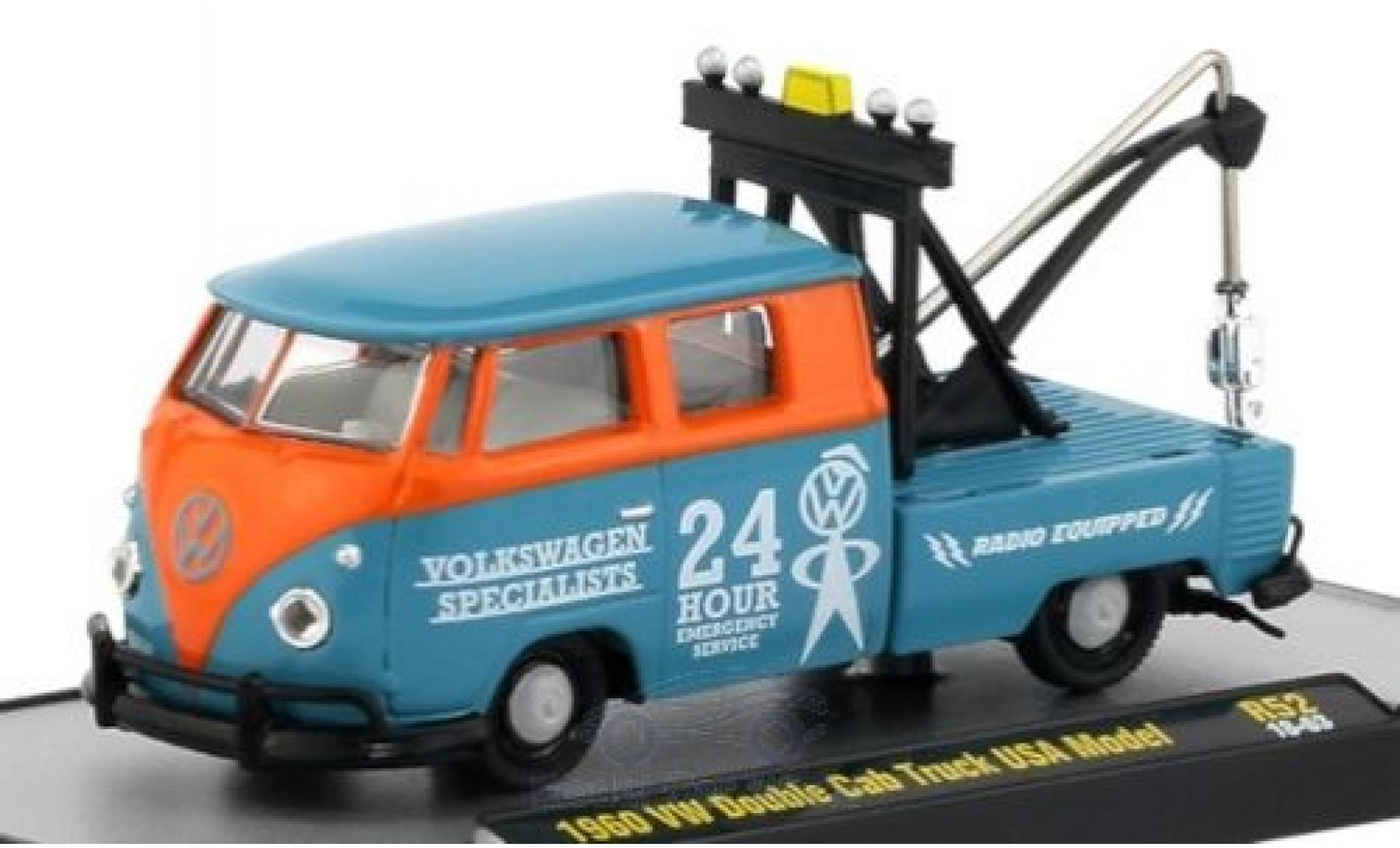 Volkswagen T1 1/64 M2 Machines Double Cab Tow Truck bleue/orange 1960