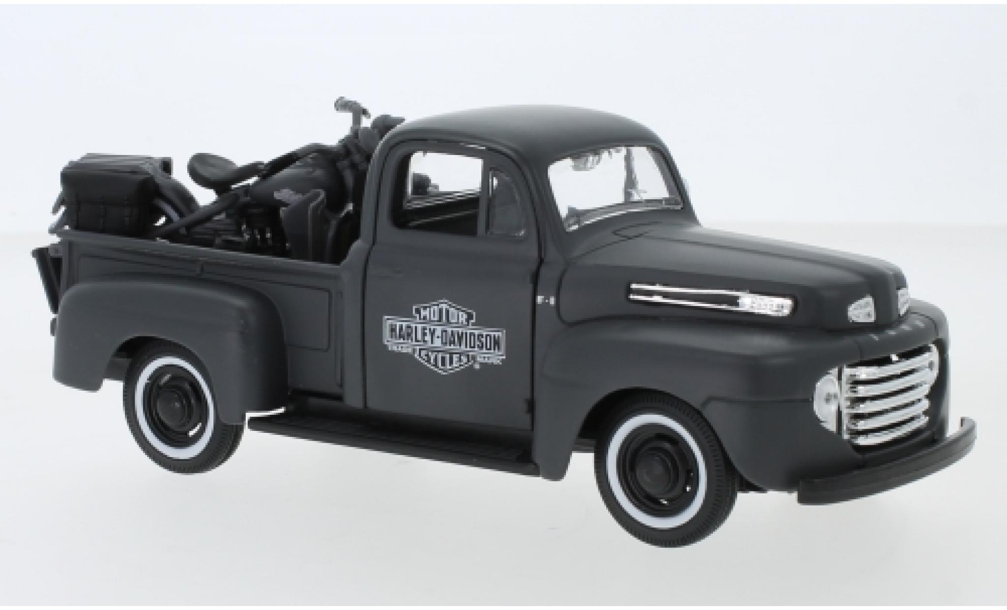 Ford F-1 1/24 Maisto Pick Up Tuning matt-grise/Dekor Harley-Davidson 1948 Maßstab ca. 1:25 mit 1942 Harley Davidson WLA Flathead