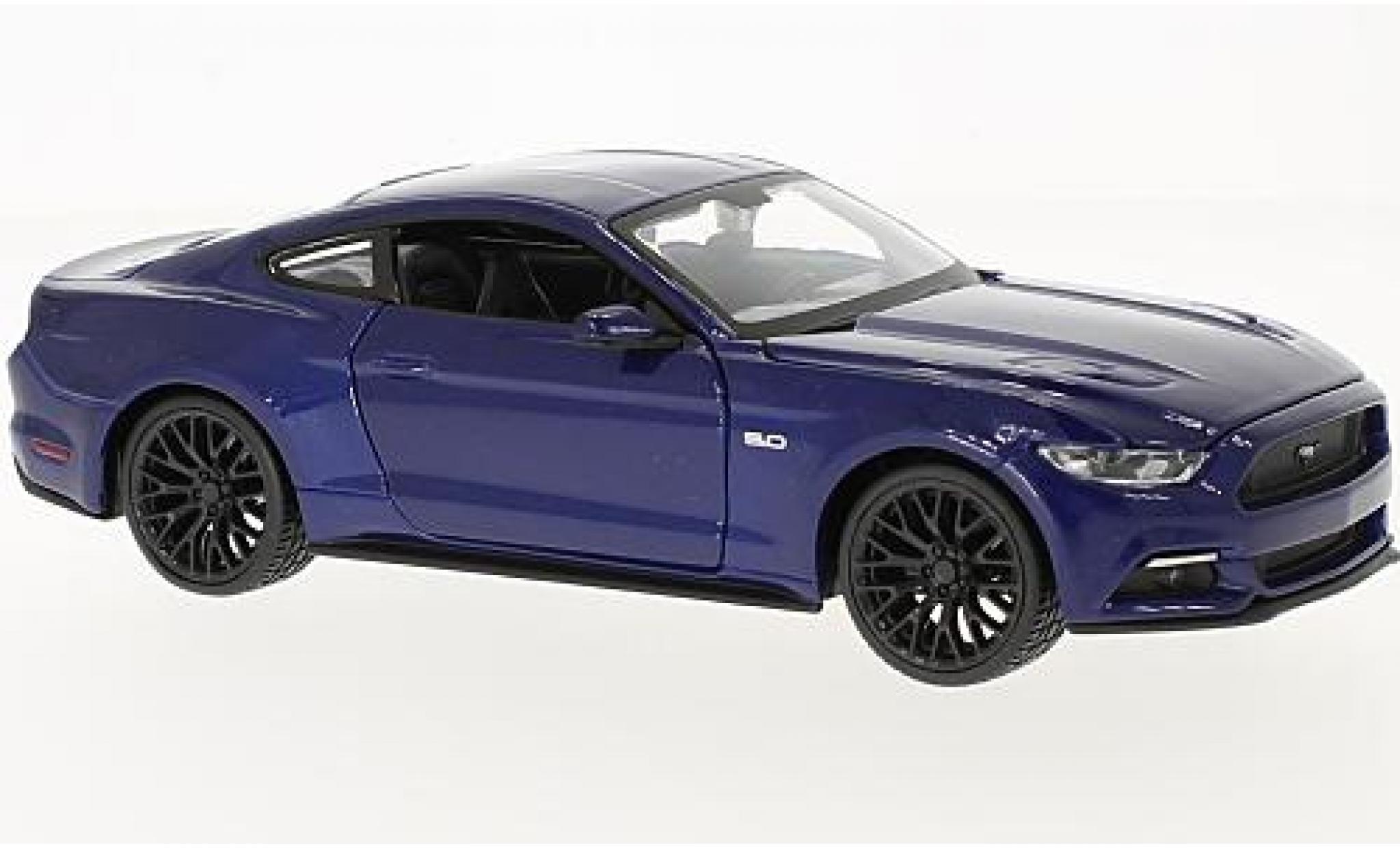 Ford Mustang 1/24 Maisto GT metallise bleue 2015 sans Vitrine
