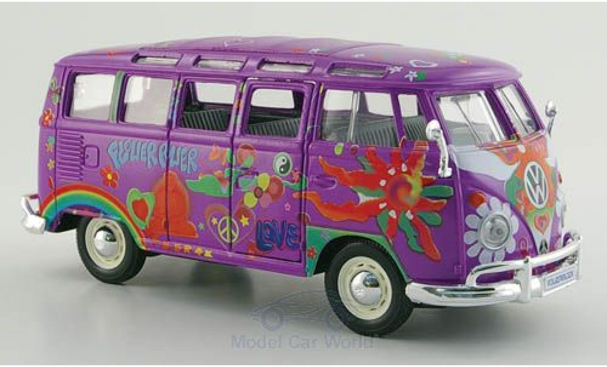 Volkswagen T1 B 1/24 Maisto Samba us lila/Dekor Hippie Massstab 1:25
