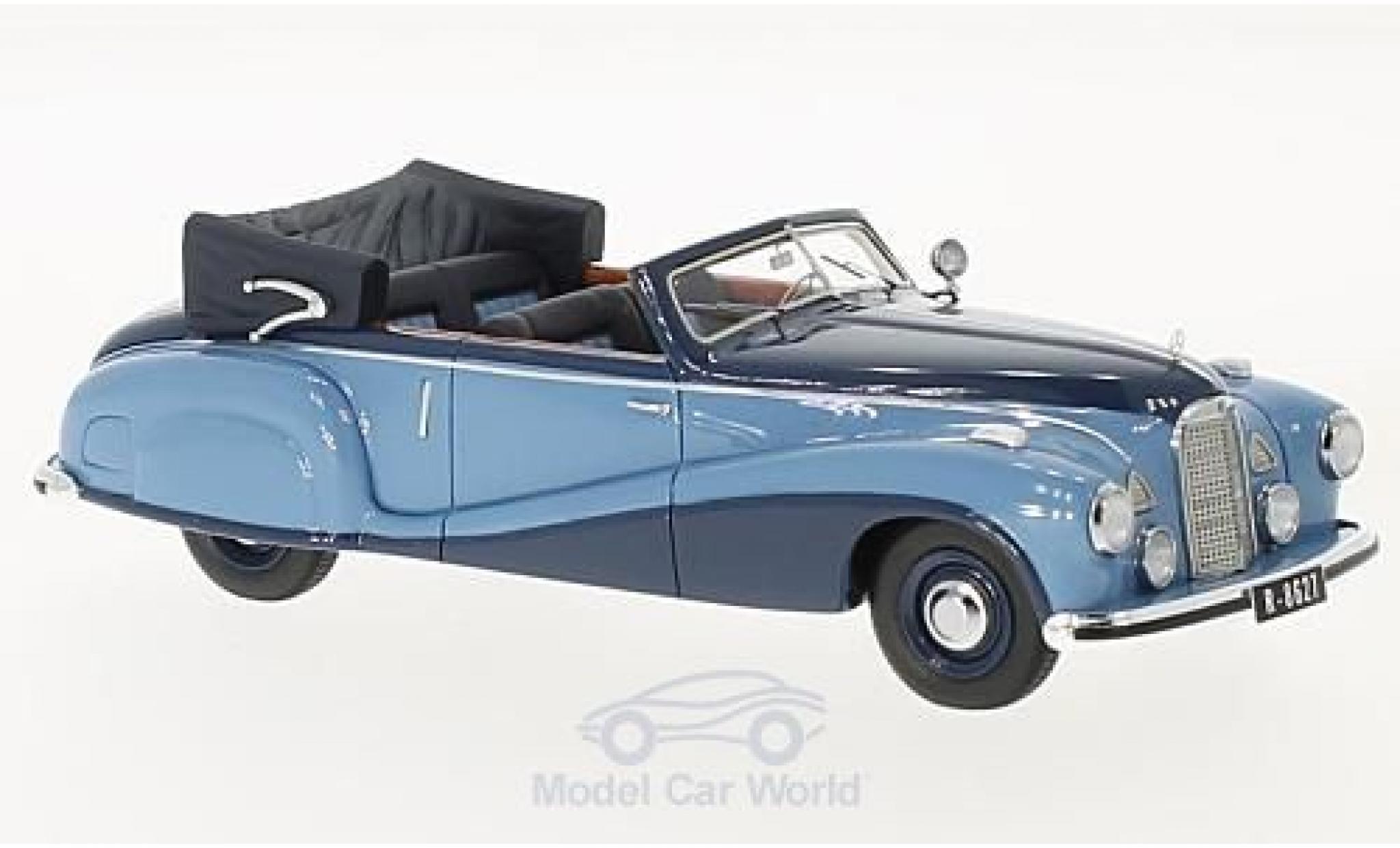 Mercedes 320 1/43 Matrix A (W142) Spezial Cabriolet Open bleue/bleue 1948 Tan Tjoan Keng